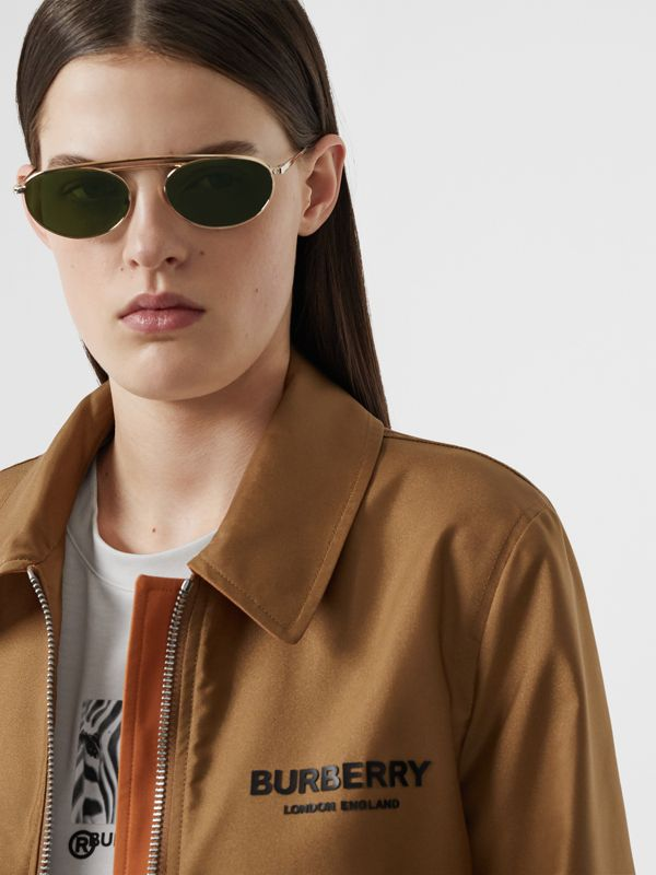 Oval Frame Sunglasses in Green - Women | Burberry - cell image 2