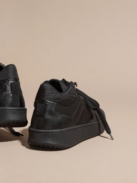 Black Ripstop and Leather Trainers - cell image 3