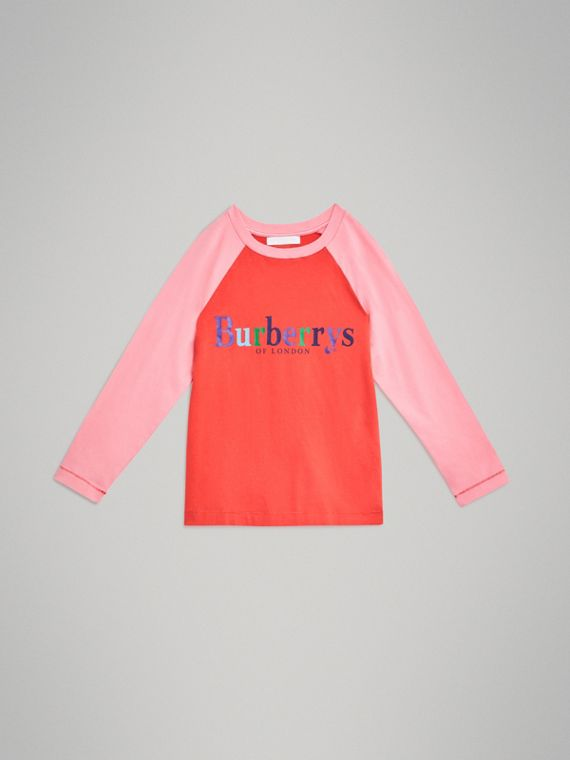 Archive Logo Print Two-tone Cotton Top in Bright Military Red