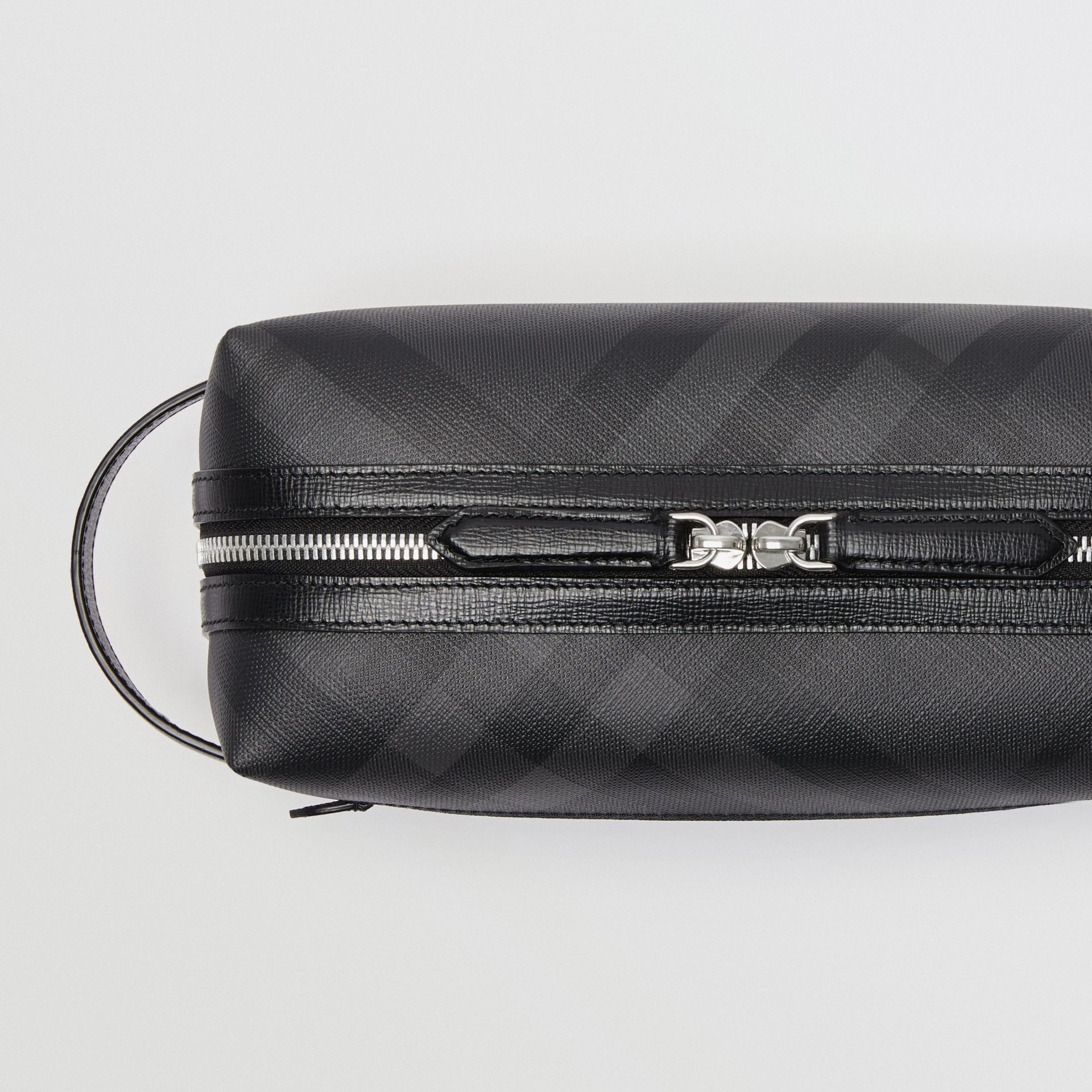 London Check and Leather Pouch in Charcoal/black | Burberry United Kingdom - gallery image 1