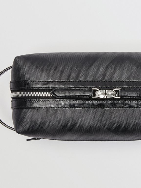 London Check and Leather Pouch in Charcoal/black | Burberry United Kingdom - cell image 1