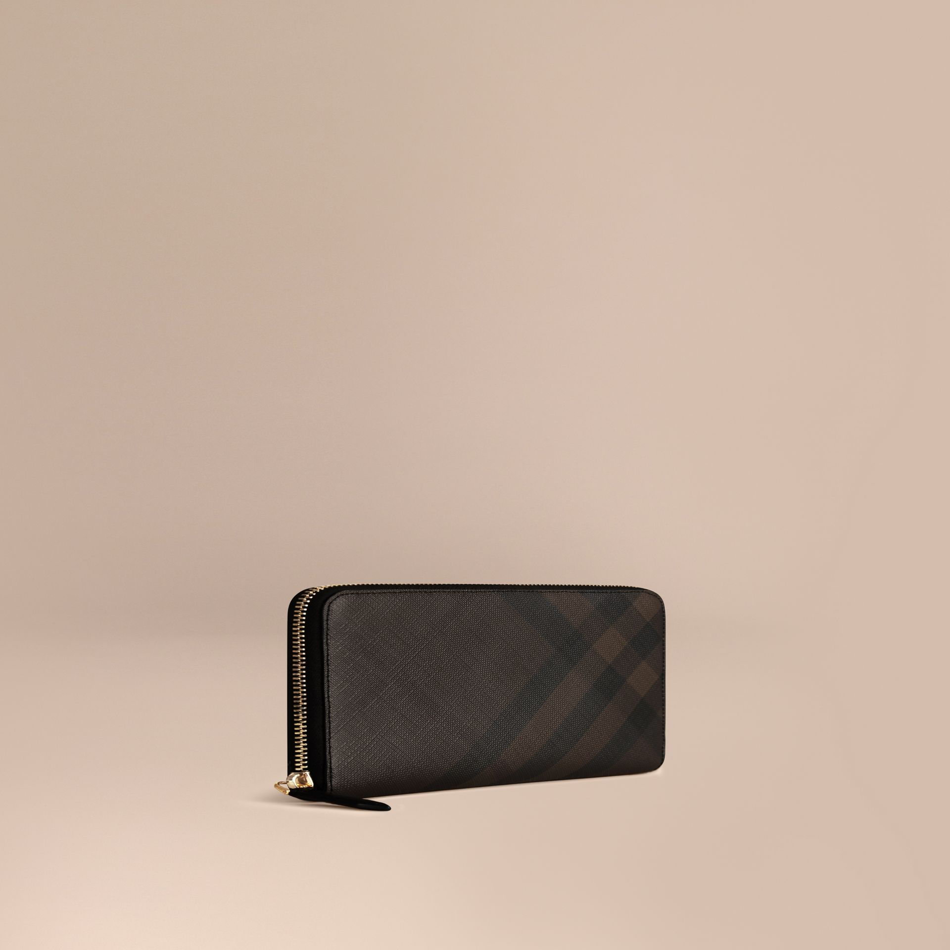 London Check Ziparound Wallet in Chocolate/black - Men | Burberry Singapore - gallery image 1