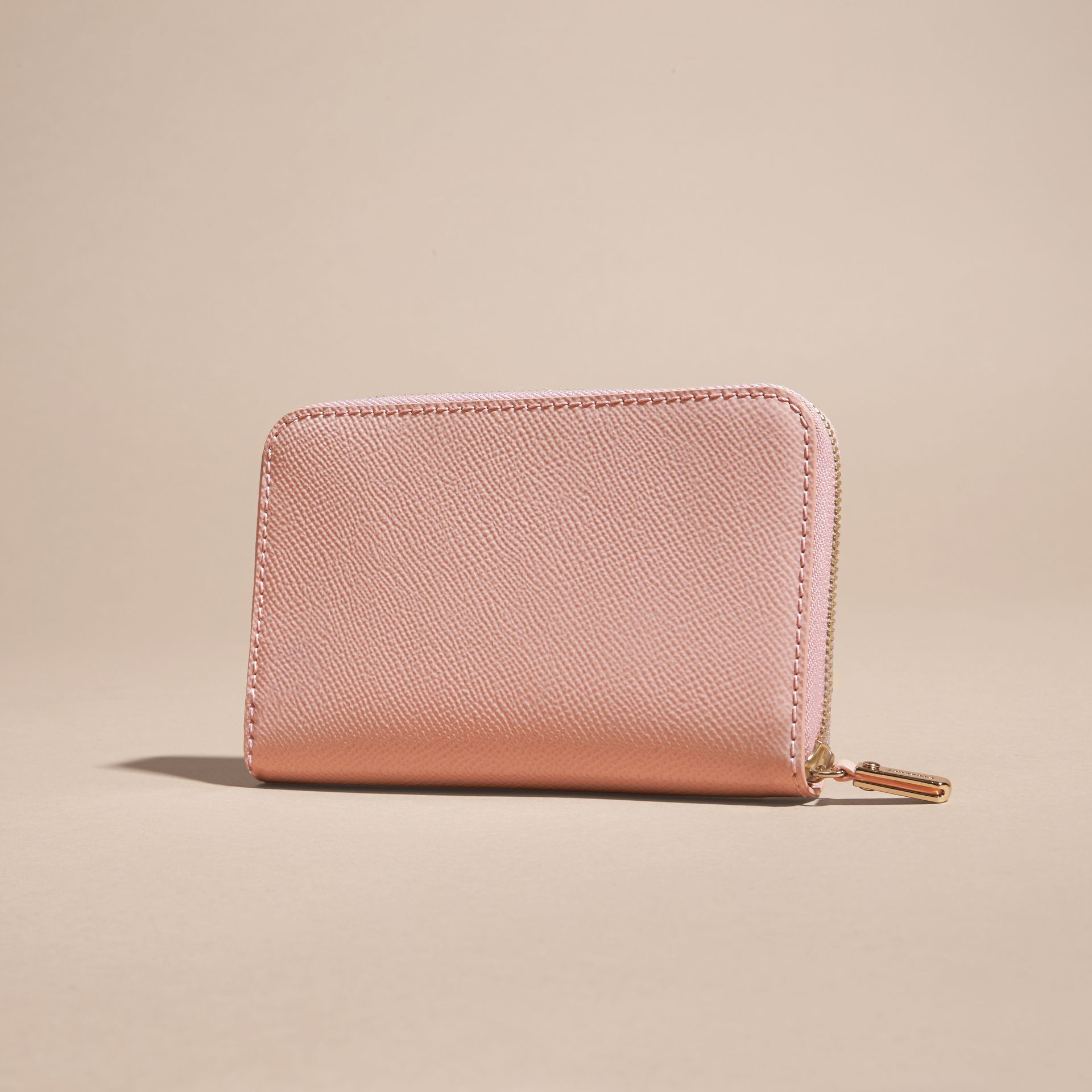 Patent London Leather Ziparound Wallet in Ash Rose - gallery image 4