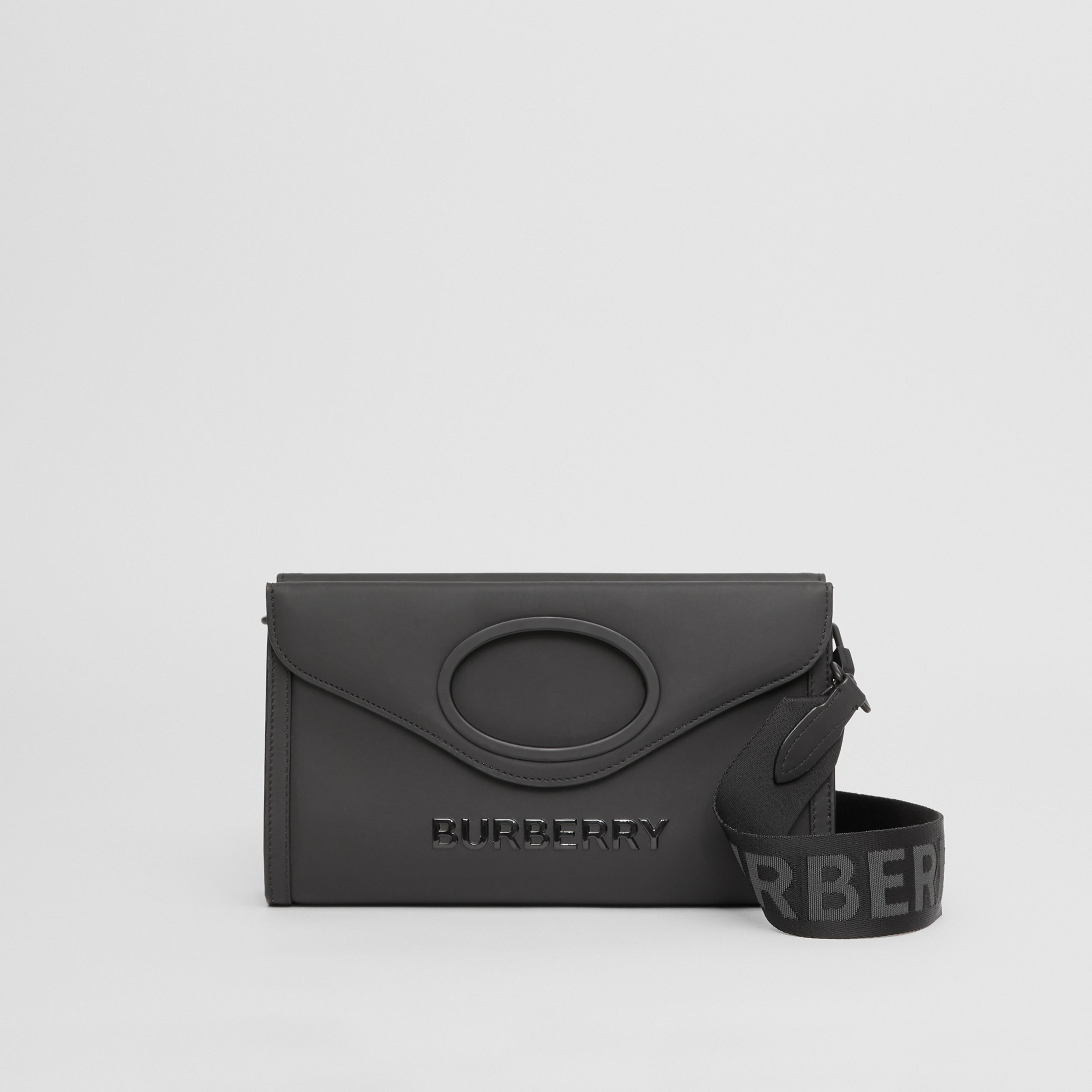 Logo Print Rubberised Cotton Foldover Pocket Bag in Black - Men | Burberry - 1