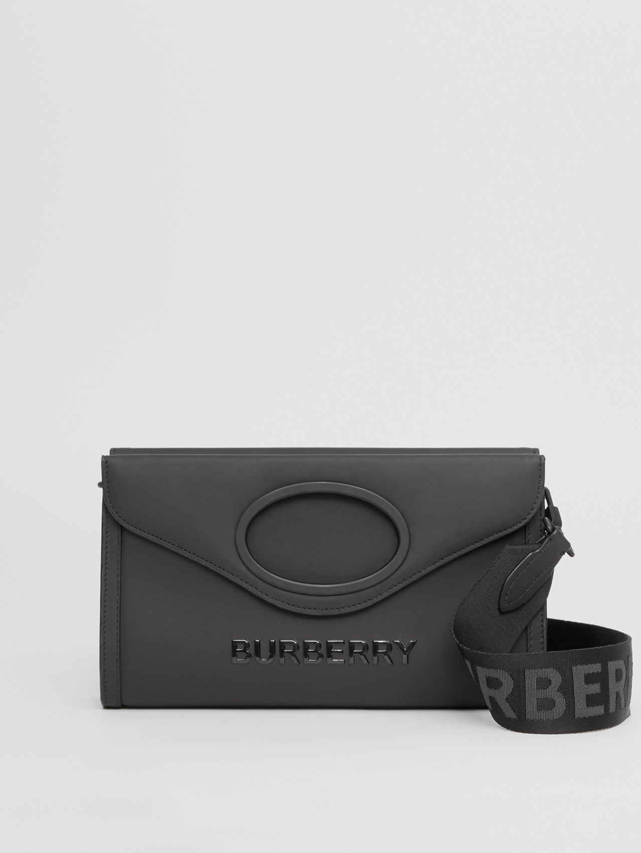 Logo Print Rubberised Cotton Foldover Pocket Bag in Black