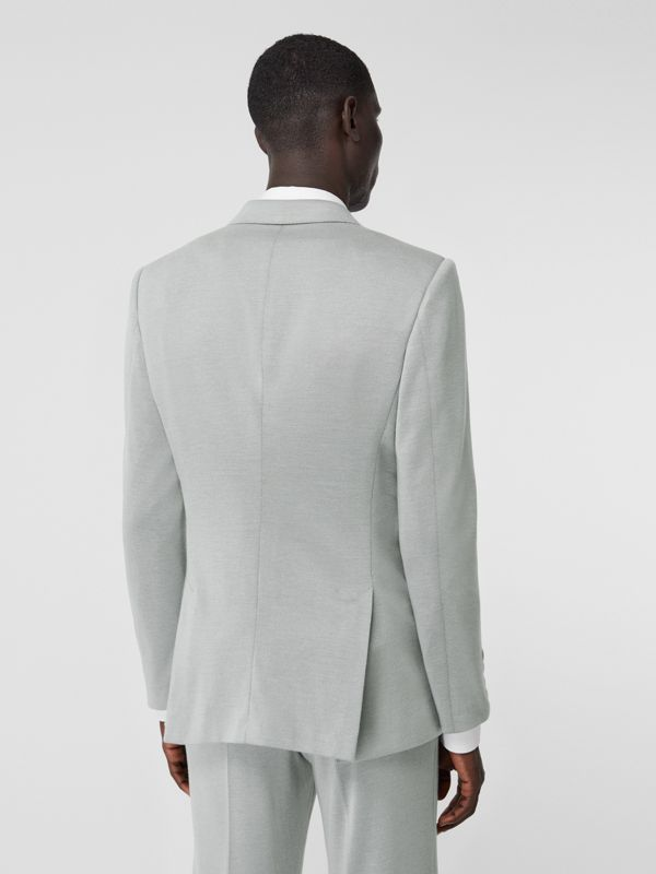 English Fit Cashmere Silk Jersey Double-breasted Jacket in Light Pebble Grey | Burberry - cell image 2
