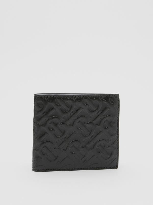 Monogram Leather International Bifold Coin Wallet in Black - Men | Burberry United States - cell image 3