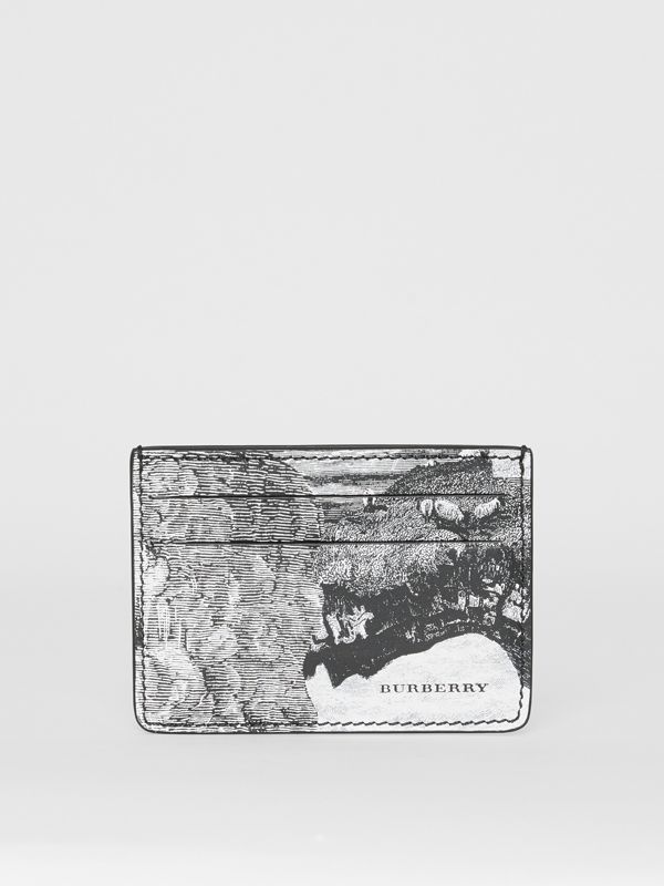 Dreamscape Print Leather Card Case in Black/white - Men | Burberry - cell image 2