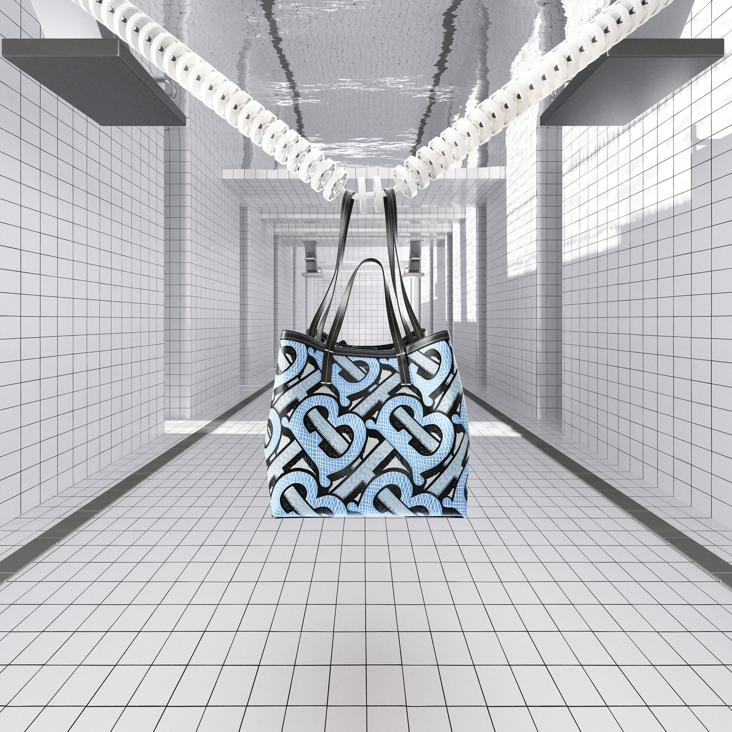 Mini Monogram Print E-canvas Beach Tote in Pale Azure | Burberry Hong Kong S.A.R. - 2