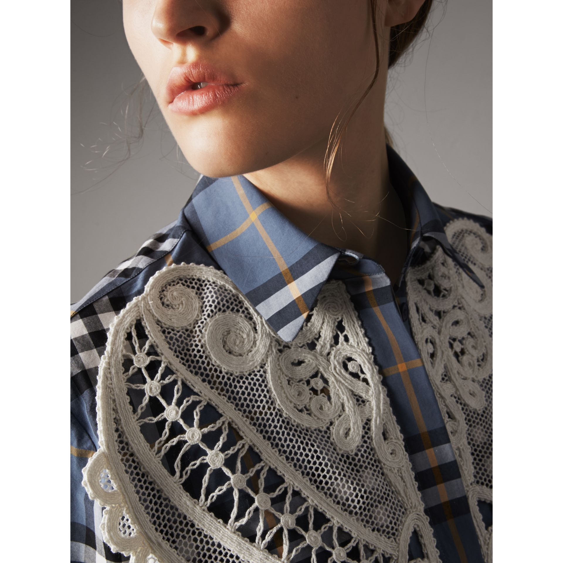 Lace Appliqué Check Cotton Shirt in Pewter Blue - Women | Burberry - gallery image 3
