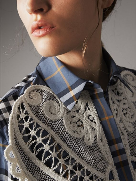 Lace Appliqué Check Cotton Shirt in Pewter Blue - Women | Burberry - cell image 2