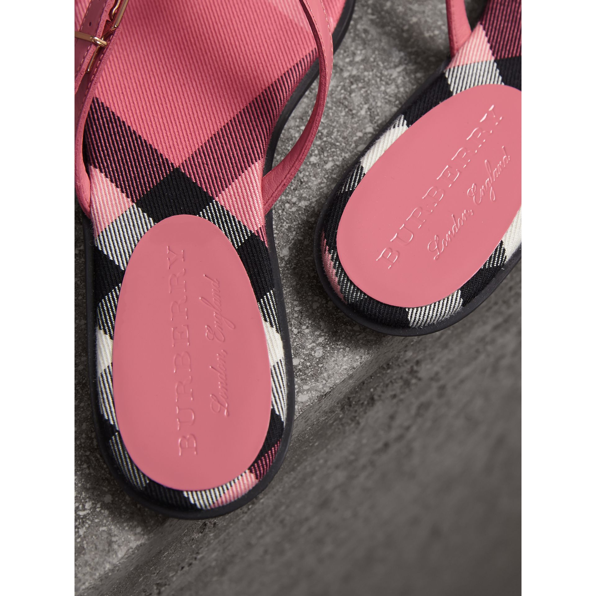 House Check and Patent Leather Sandals in Berry Pink - Women | Burberry Australia - gallery image 3