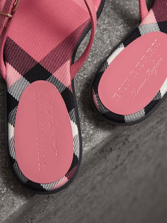 House Check and Patent Leather Sandals in Berry Pink - Women | Burberry - cell image 2