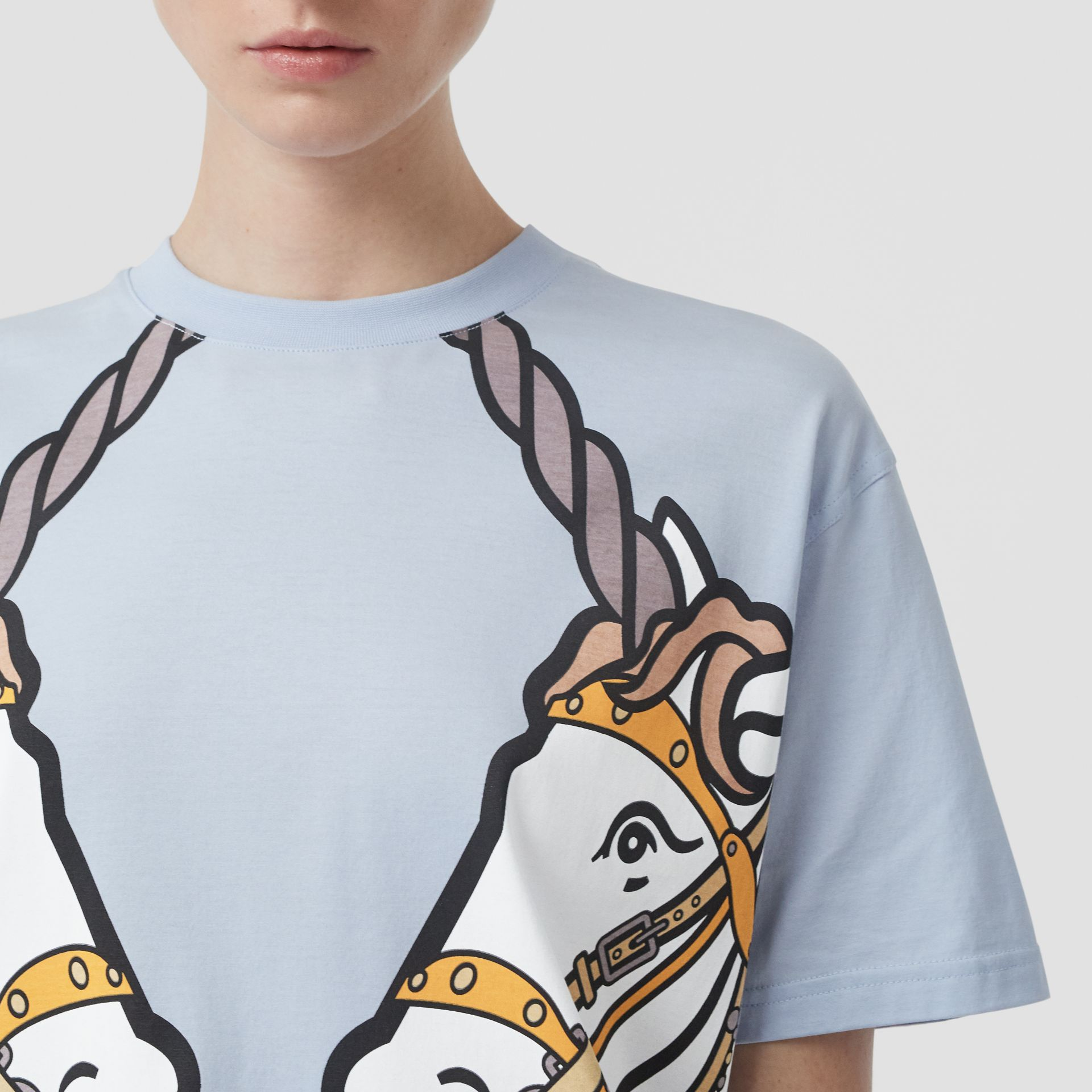 Unicorn Print Cotton Oversized T-shirt in Pale Blue - Women | Burberry United Kingdom - gallery image 1