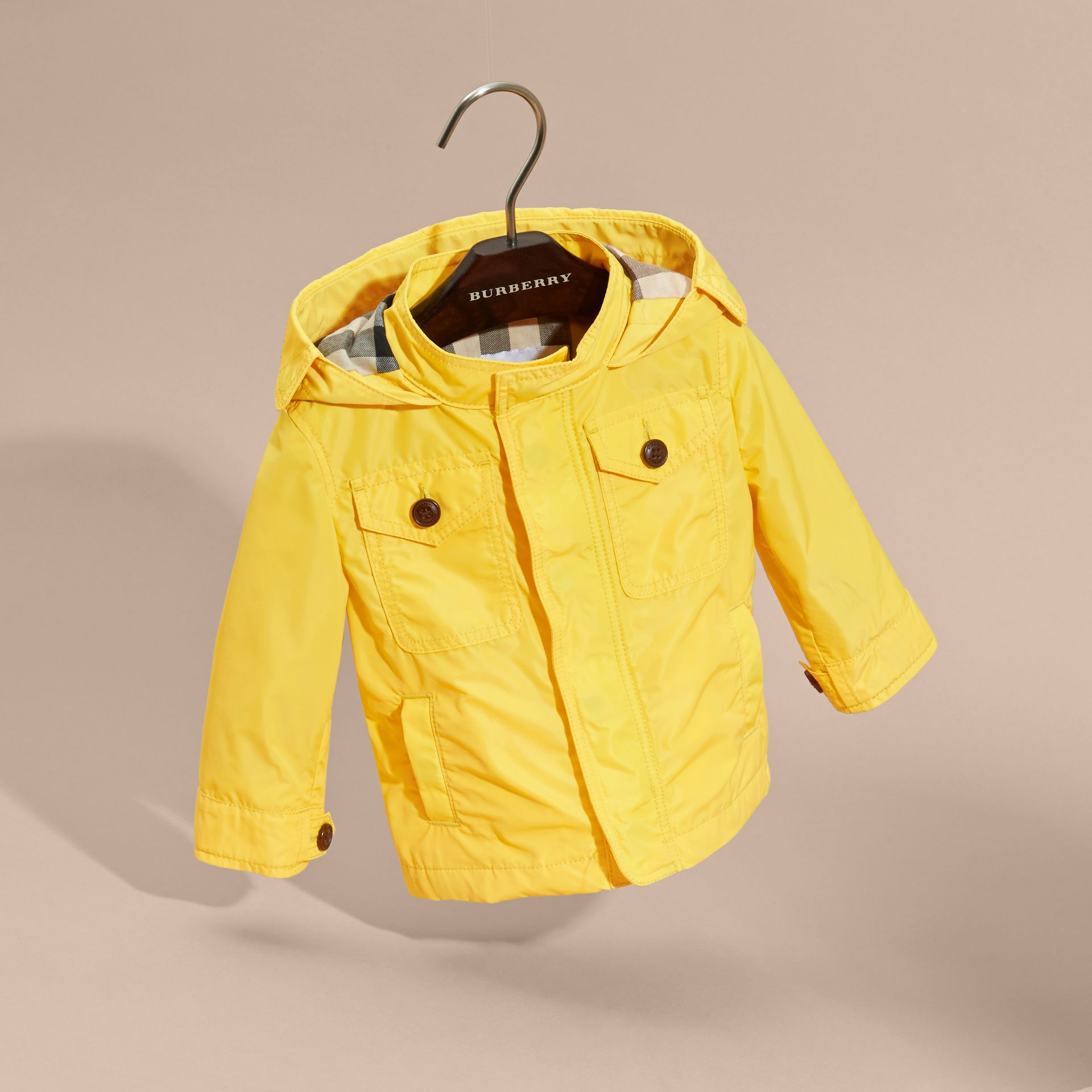 Bright yellow Hooded Technical Jacket Bright Yellow - gallery image 3