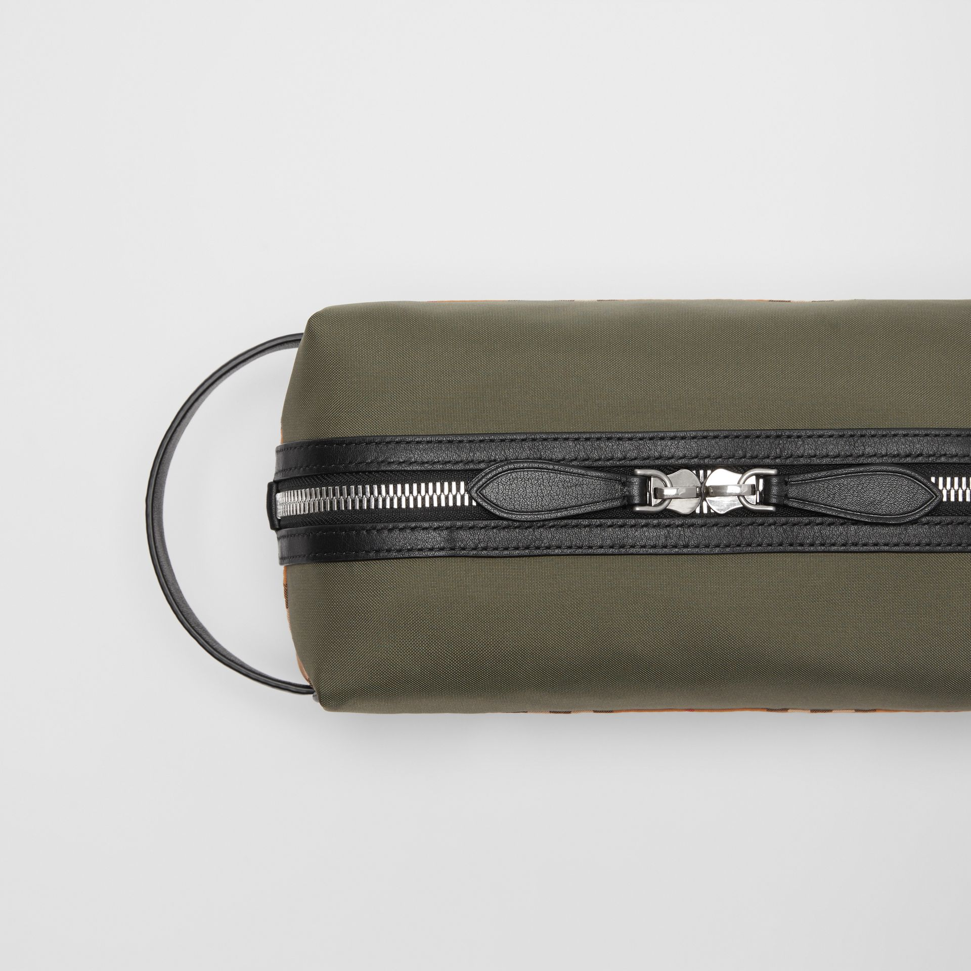 Vintage Check and Colour Block Pouch in Military Green/vintage | Burberry - gallery image 1