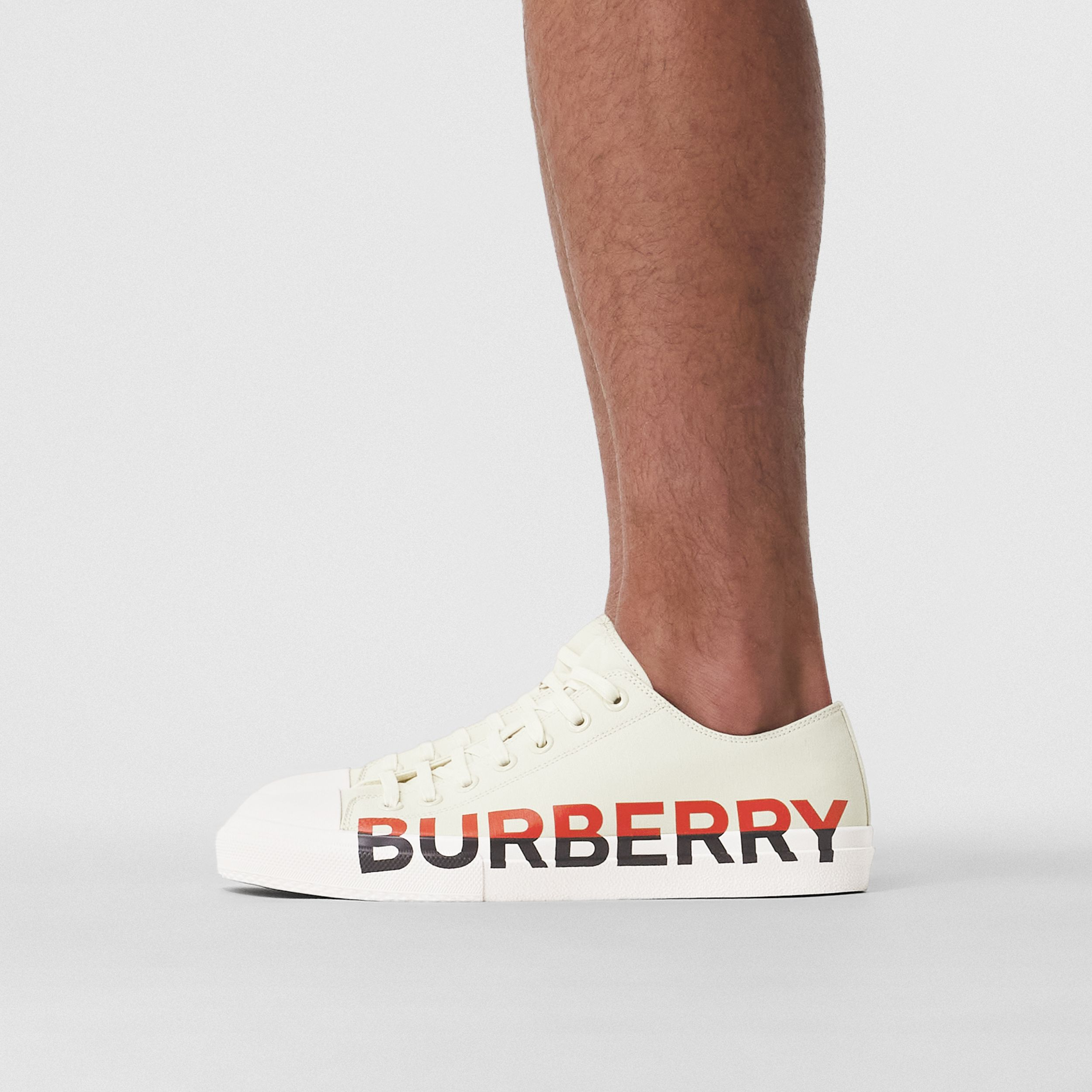 Logo Print Tri-tone Cotton Canvas Sneakers in Cream - Men | Burberry - 3