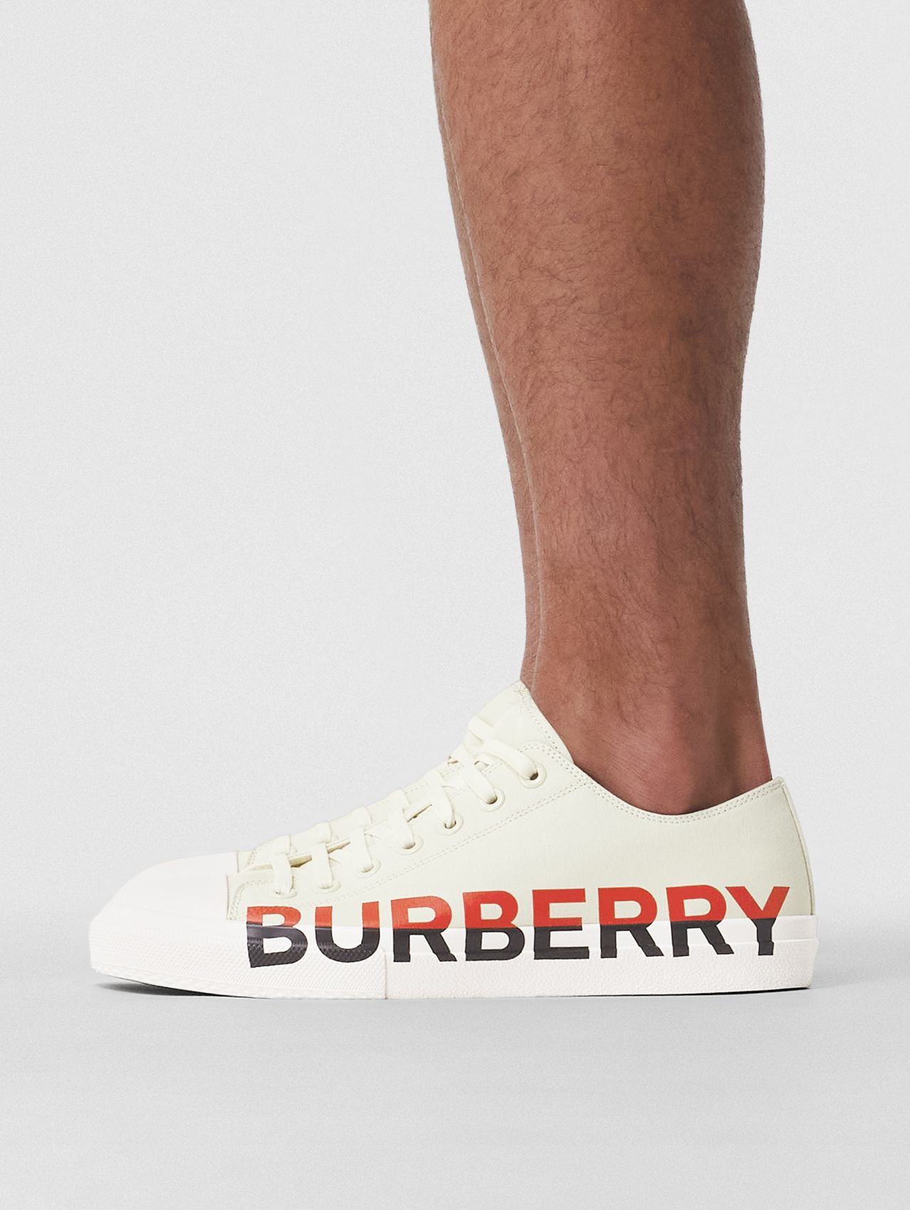 Logo Print Tri-tone Cotton Canvas Sneakers in Cream
