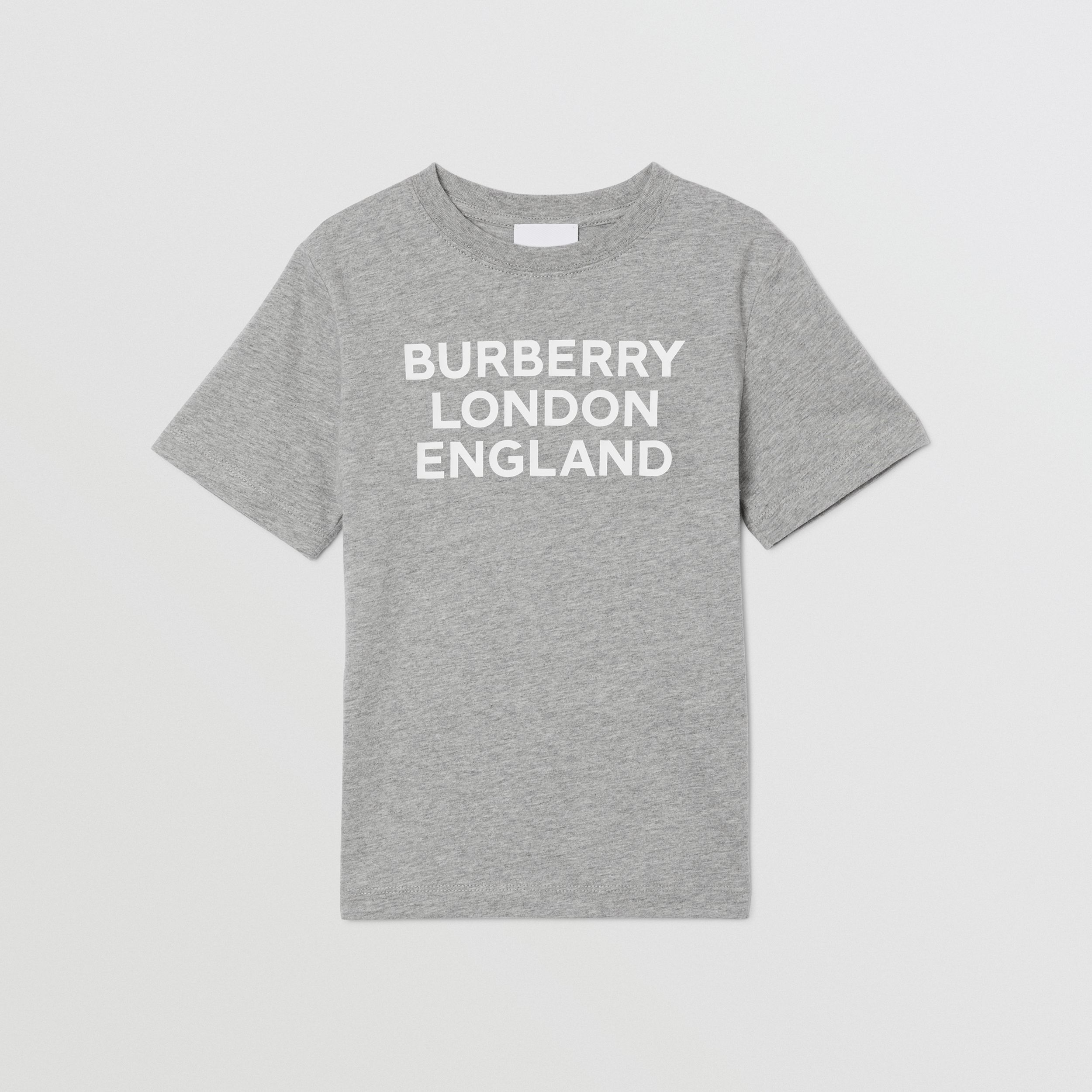 Logo Print Cotton T-shirt in Grey Melange | Burberry - 1