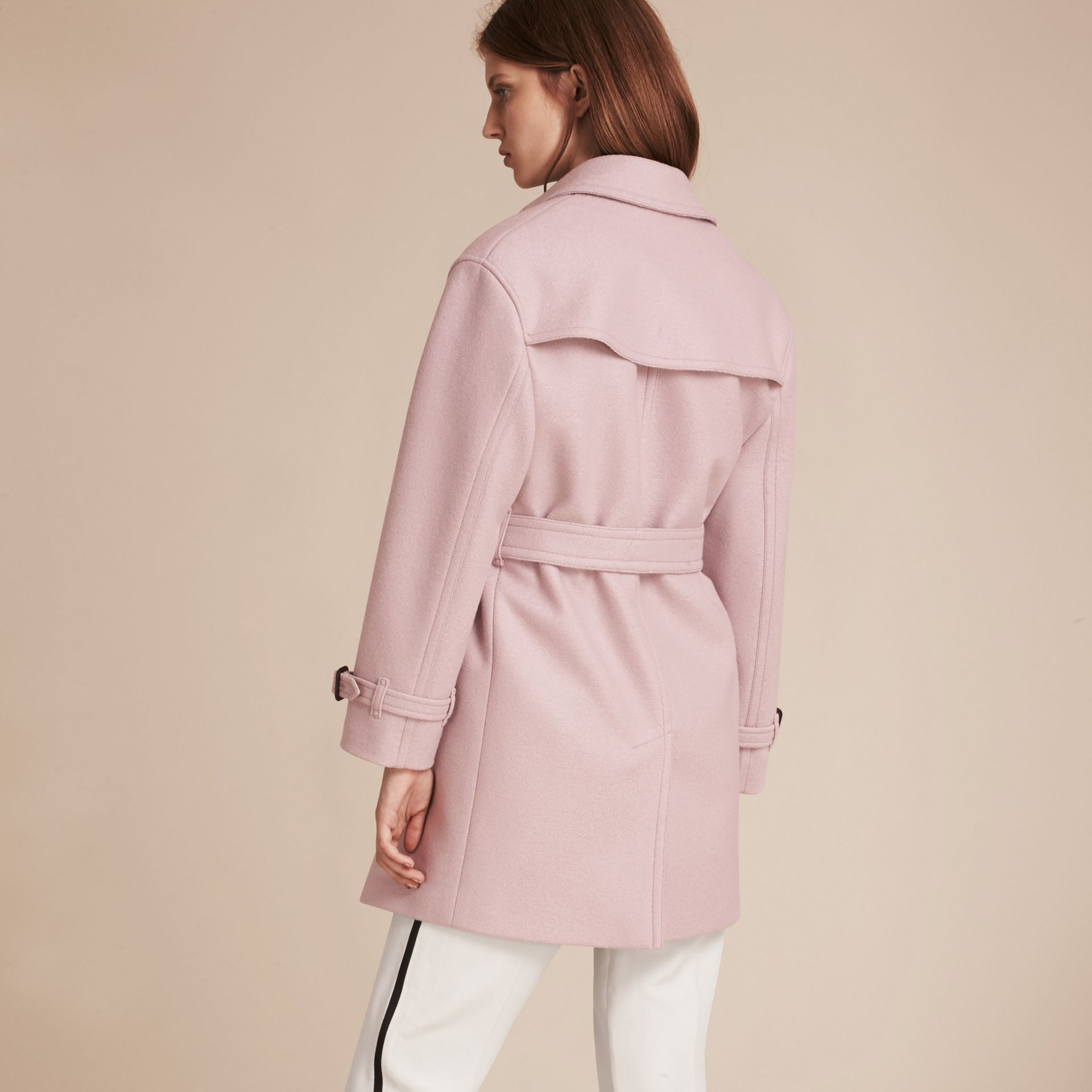 Pale orchid Wool Wrap Trench Coat - gallery image 3