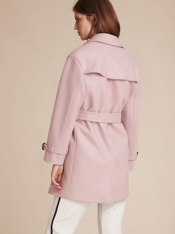 Pale orchid Wool Wrap Trench Coat - cell image 2