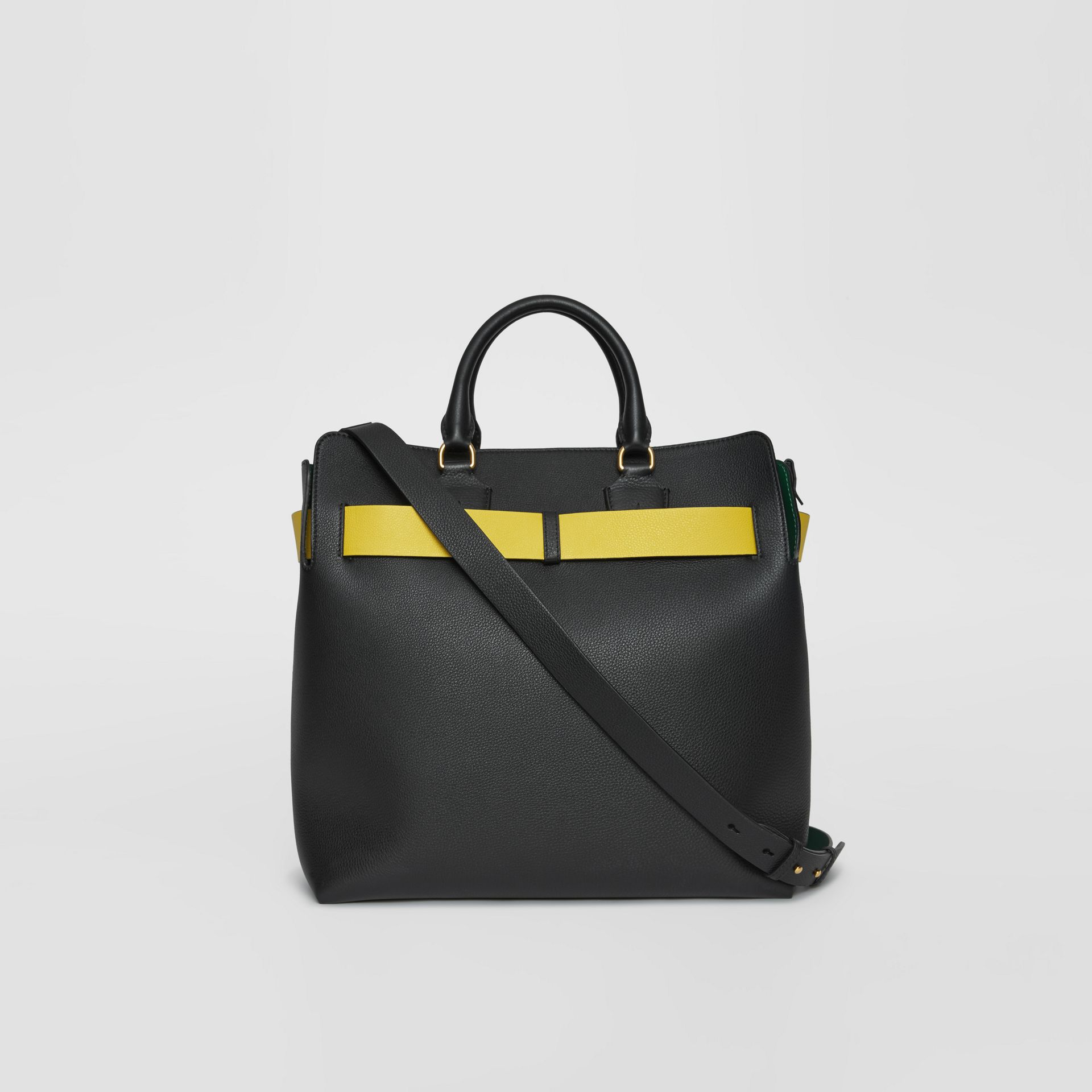 The Large Leather Belt Bag in Black/yellow | Burberry - gallery image 8