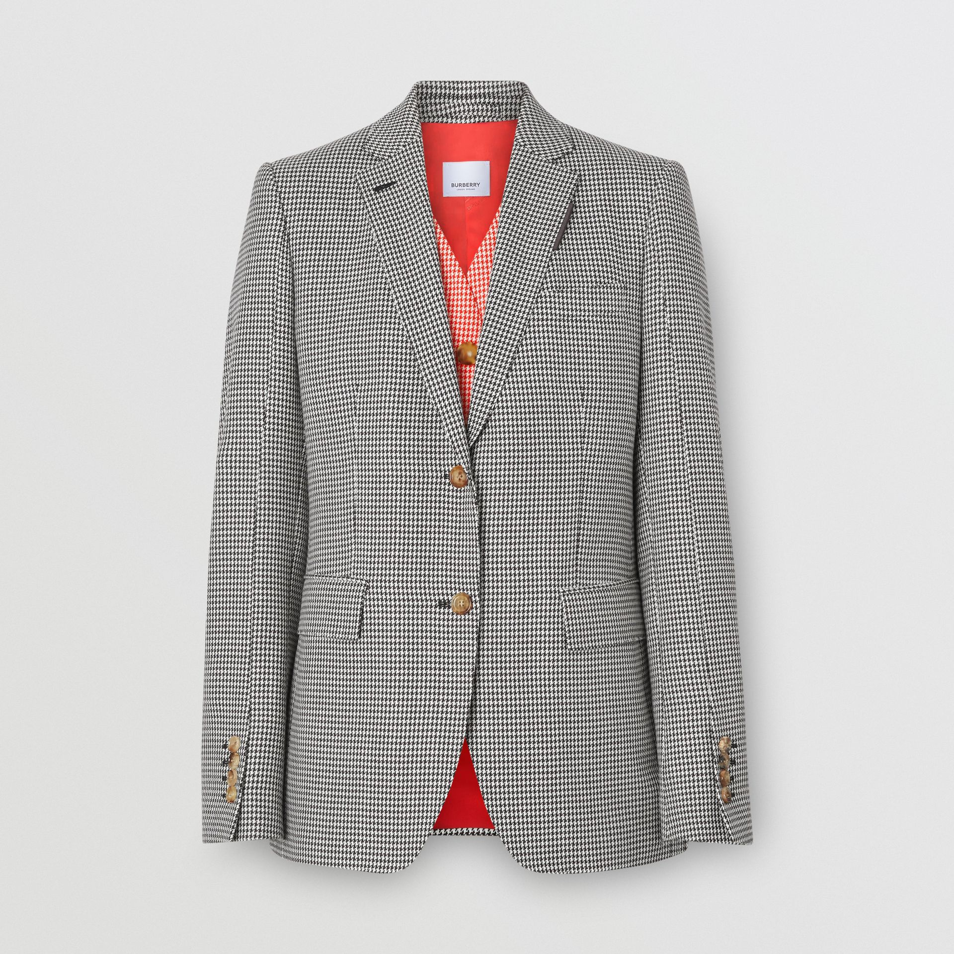 Waistcoat Detail Houndstooth Check Wool Blazer in Bright Red - Women | Burberry United Kingdom - gallery image 3