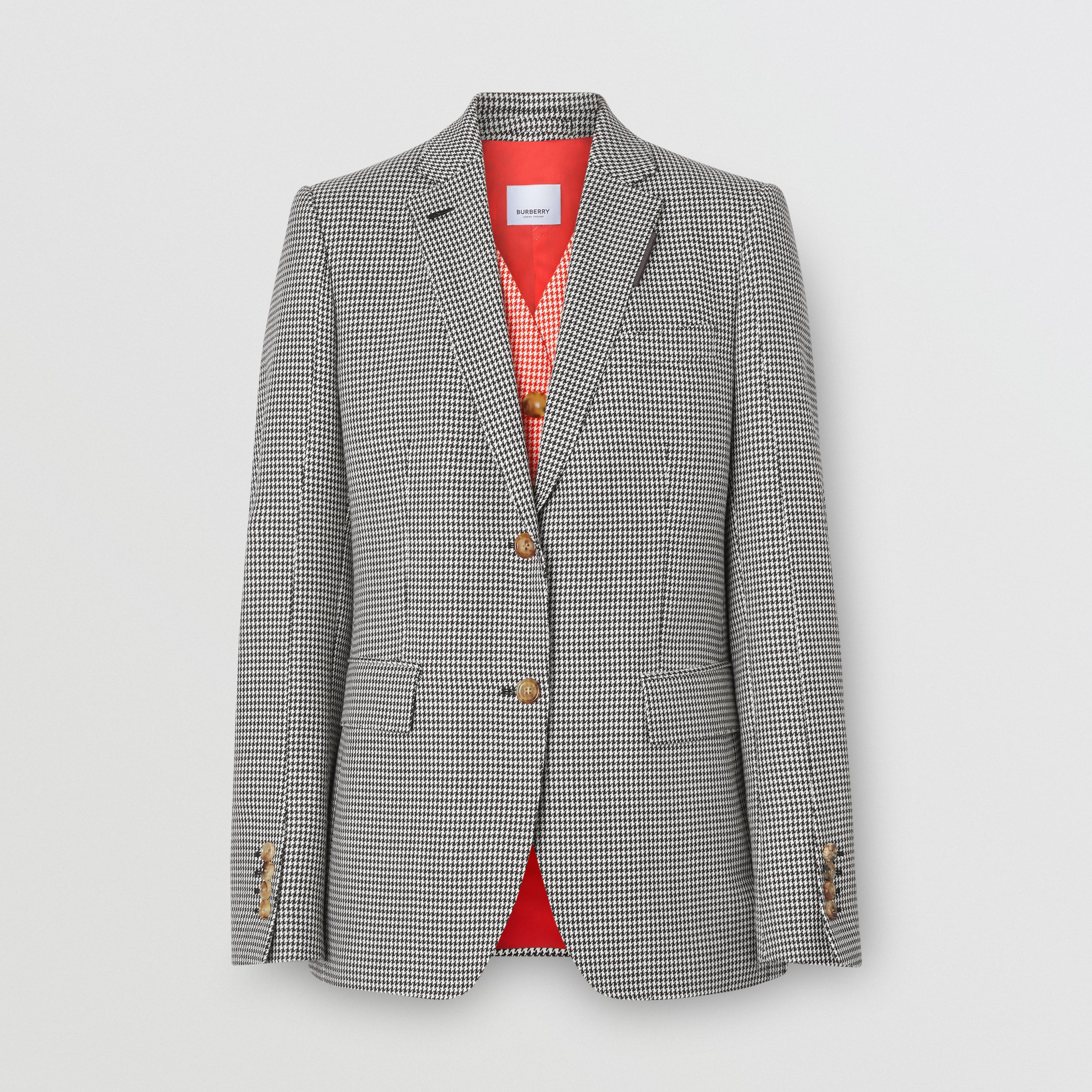 Waistcoat Detail Houndstooth Check Wool Blazer in Bright Red - Women | Burberry - 4