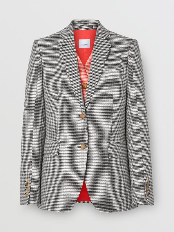 Waistcoat Detail Houndstooth Check Wool Blazer in Bright Red - Women | Burberry - cell image 3