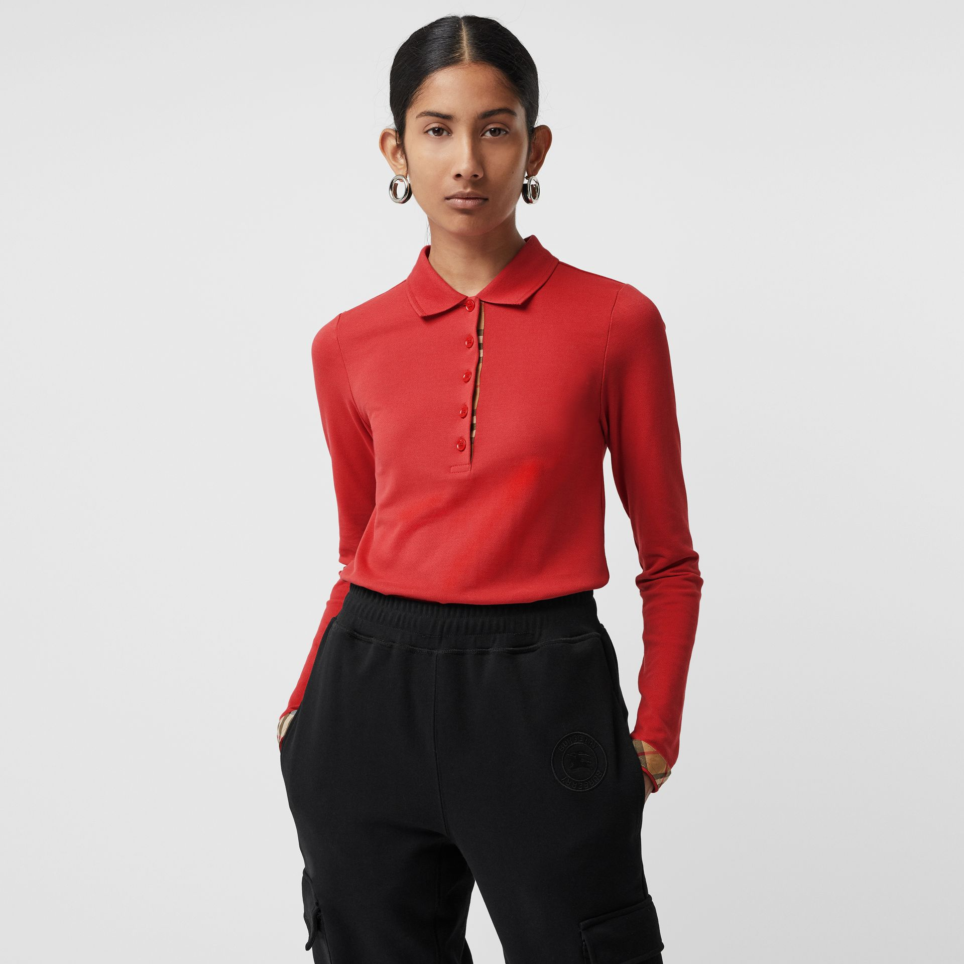 Long-sleeve Check Placket Cotton Piqué Polo Shirt in Bright Red - Women | Burberry United Kingdom - gallery image 0