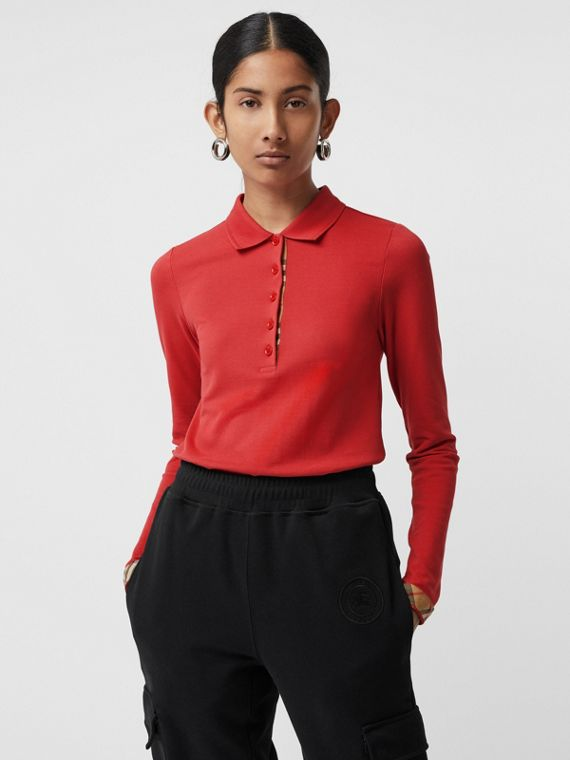 Long-sleeve Check Placket Cotton Piqué Polo Shirt in Bright Red