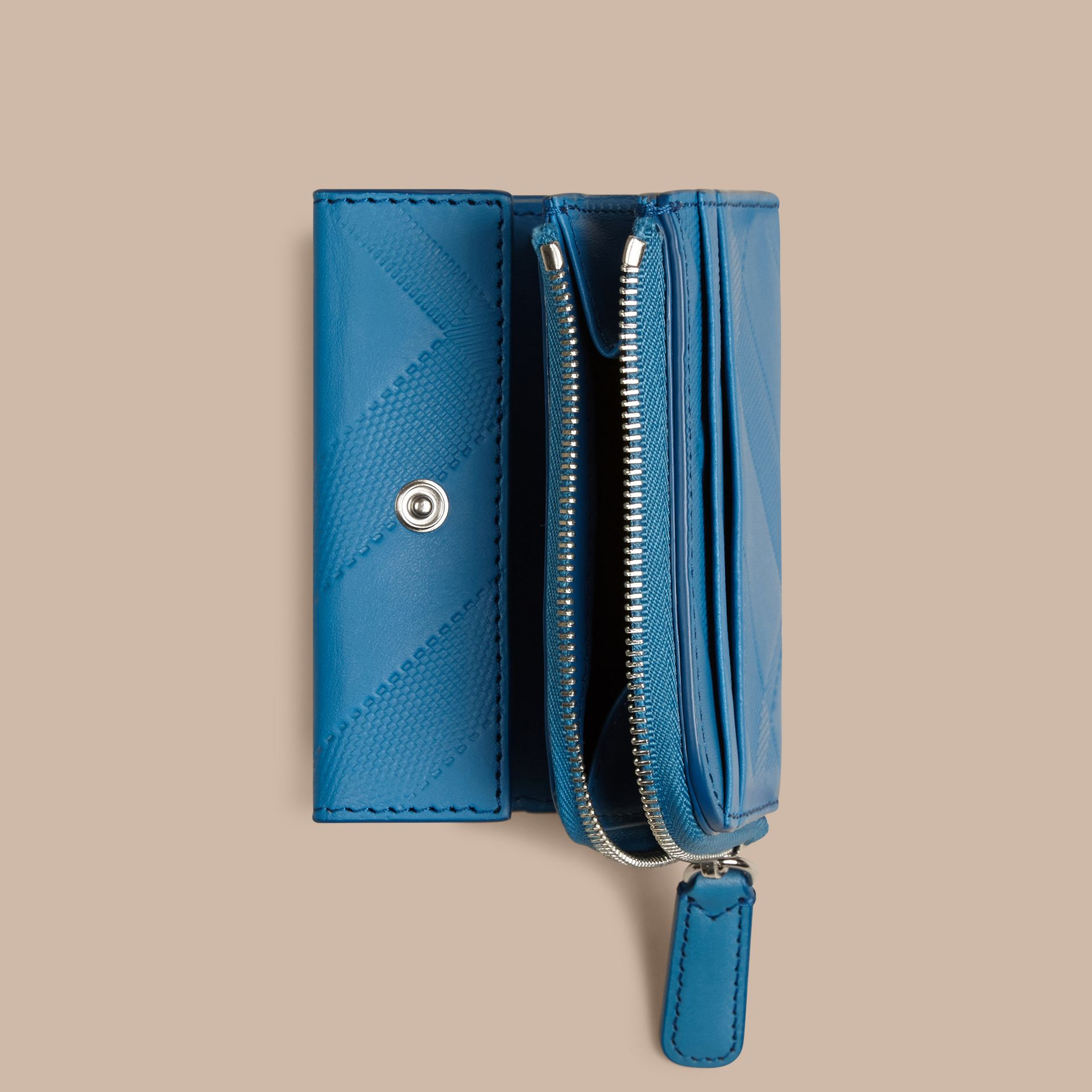 Blue azure Embossed Check Leather Folding Wallet Blue Azure - gallery image 5