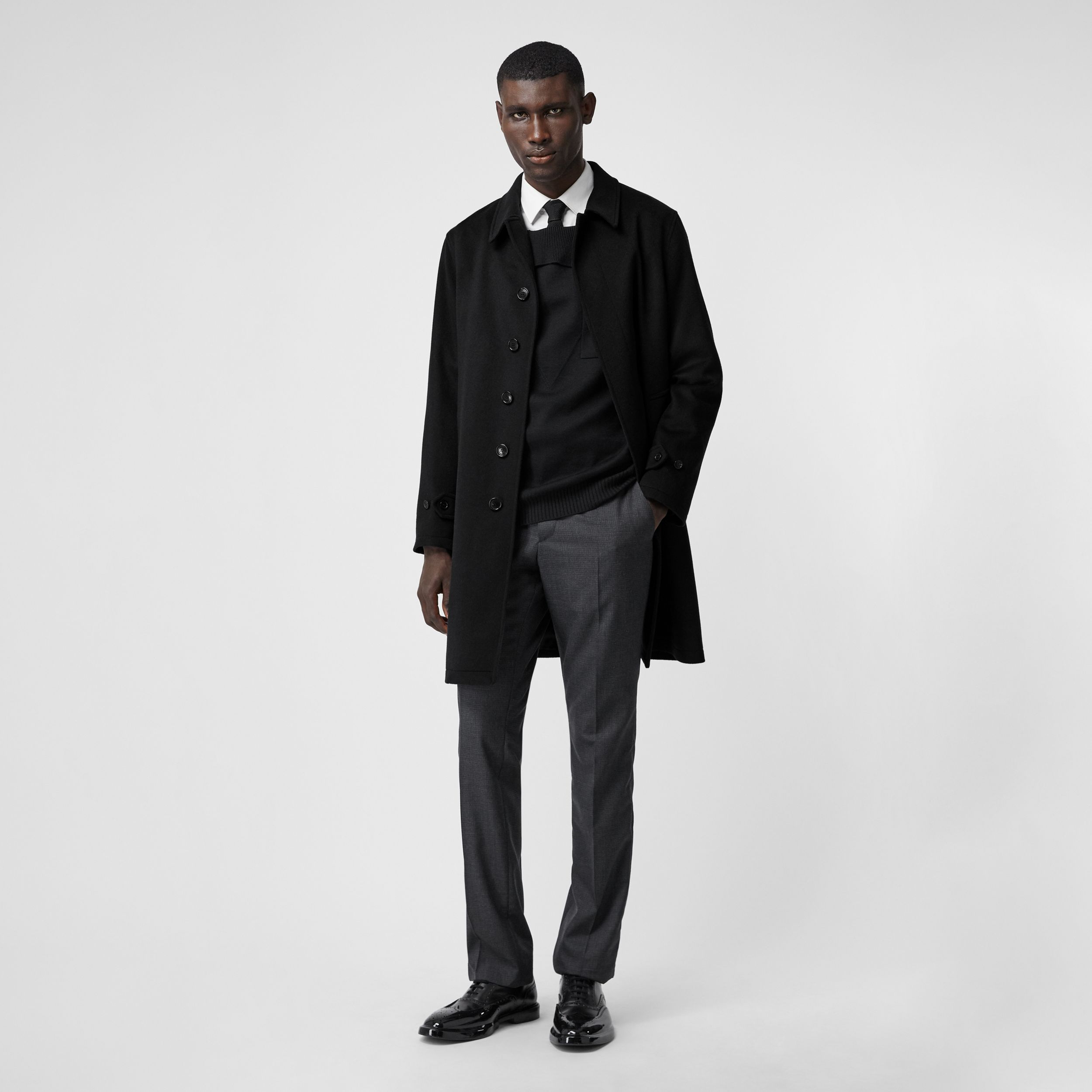 Cashmere Car Coat in Navy - Men | Burberry - 1