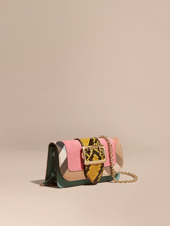 The Mini Buckle Bag in Snakeskin and House Check Rose Pink