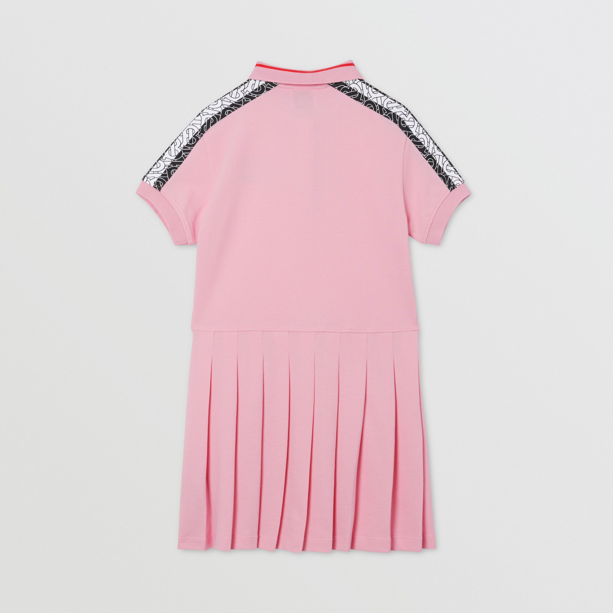 Monogram Stripe Print Cotton Piqué Polo Shirt Dress in Candy Pink | Burberry Canada - 4