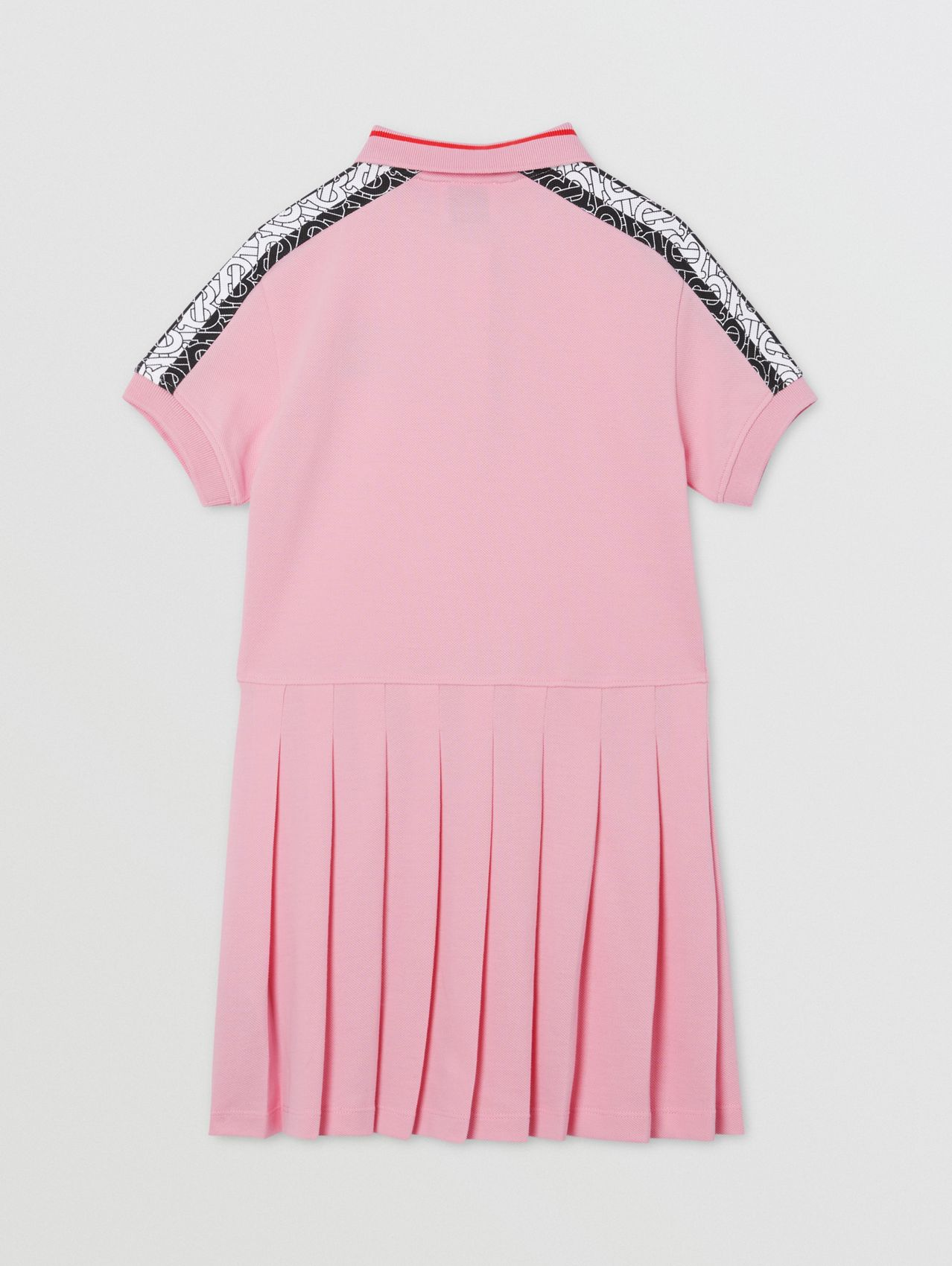 Monogram Stripe Print Cotton Piqué Polo Shirt Dress (Candy Pink)