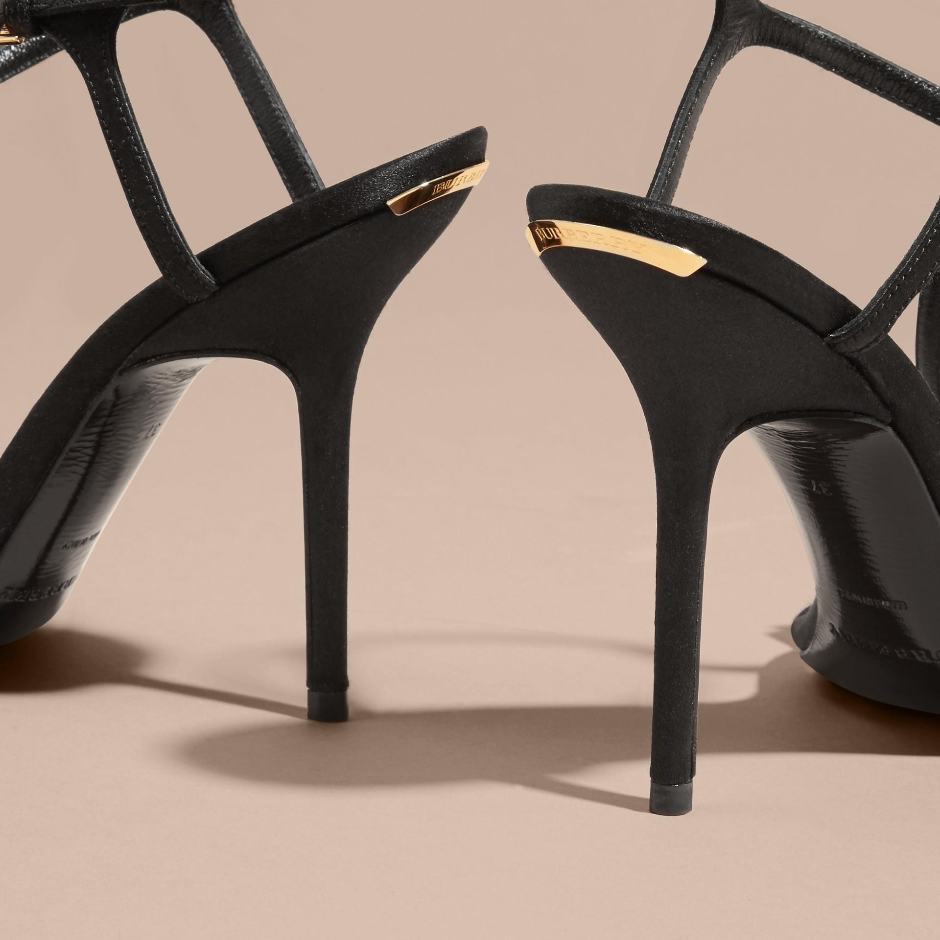 Black Gem Embellished Leather Sandals - gallery image 4