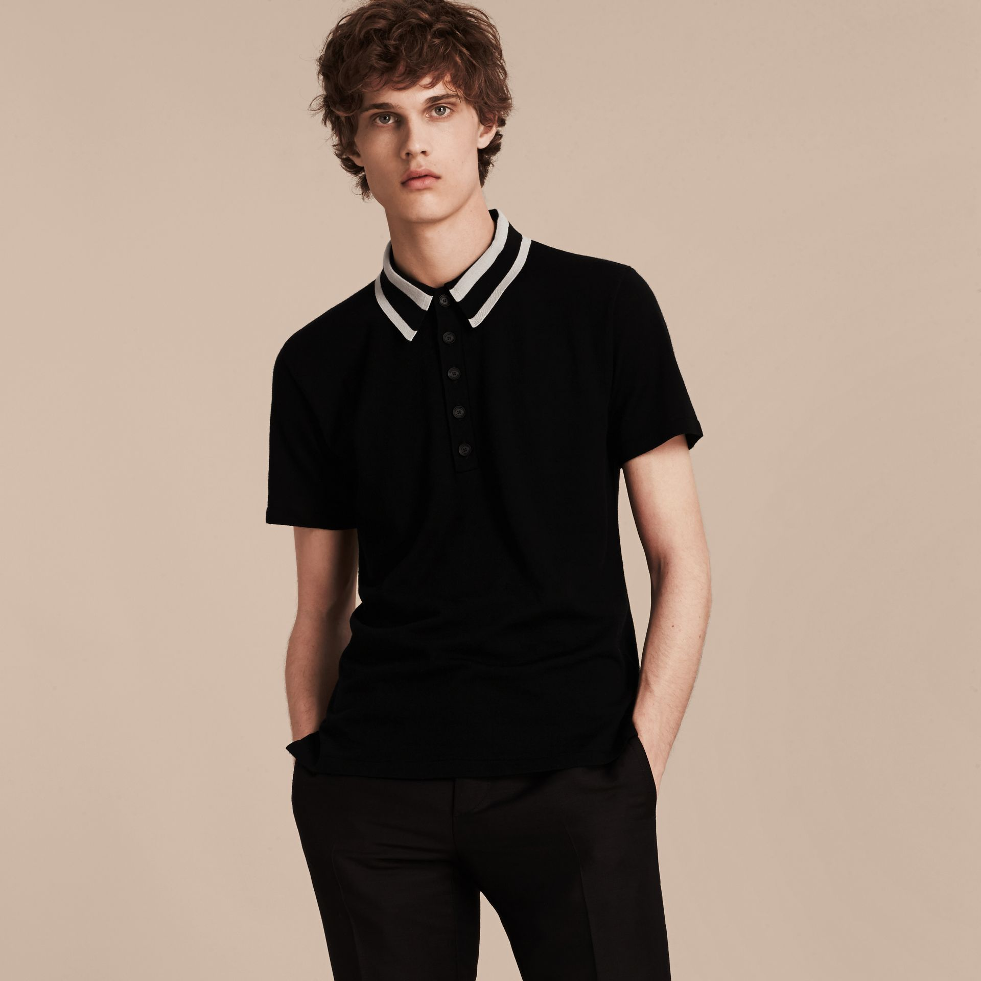 Black/white Striped Collar Wool Blend Polo Shirt - gallery image 6