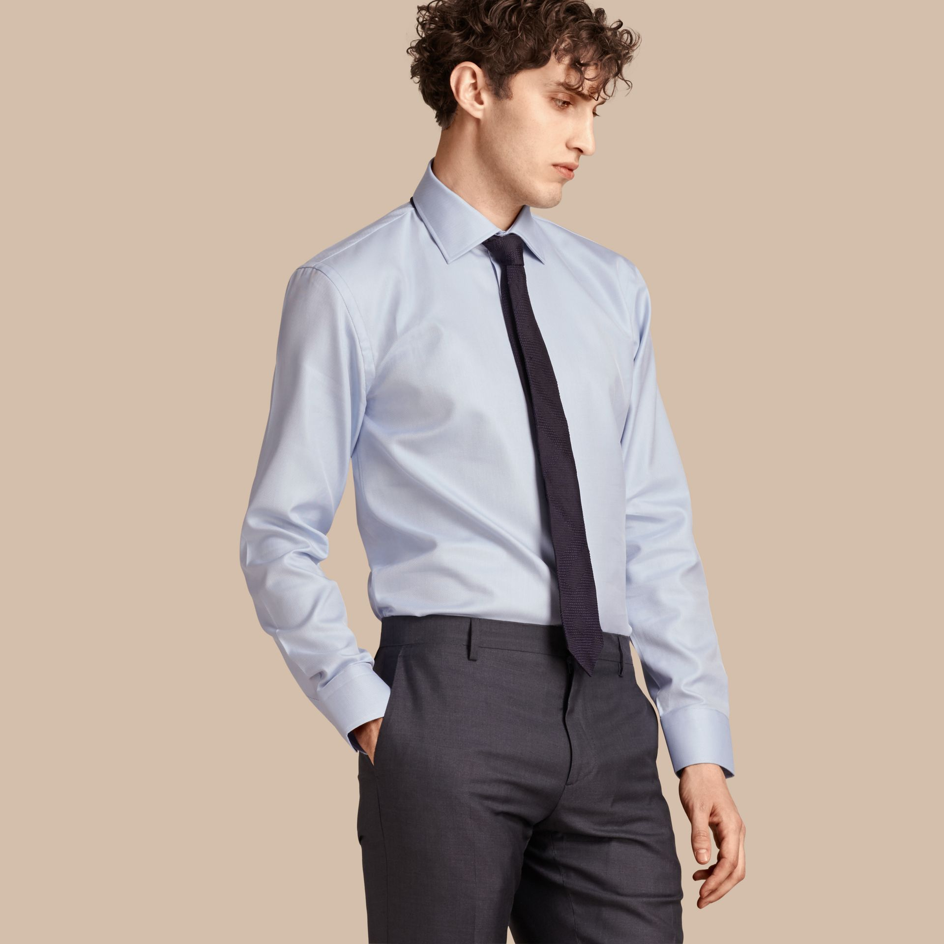 City blue Modern Fit Cotton Twill Shirt City Blue - gallery image 1