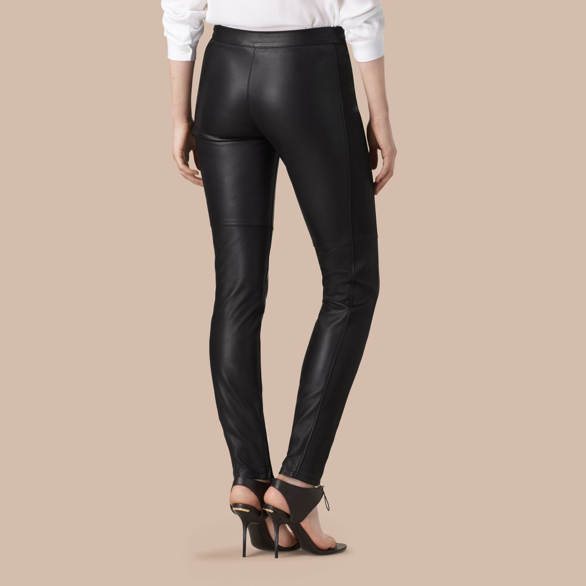 Black Panelled Lambskin Trousers - gallery image 3