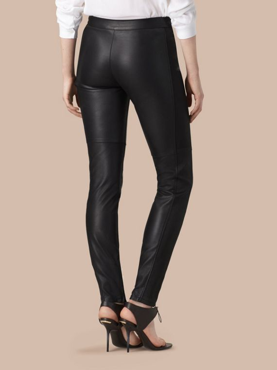Black Panelled Lambskin Trousers - cell image 2