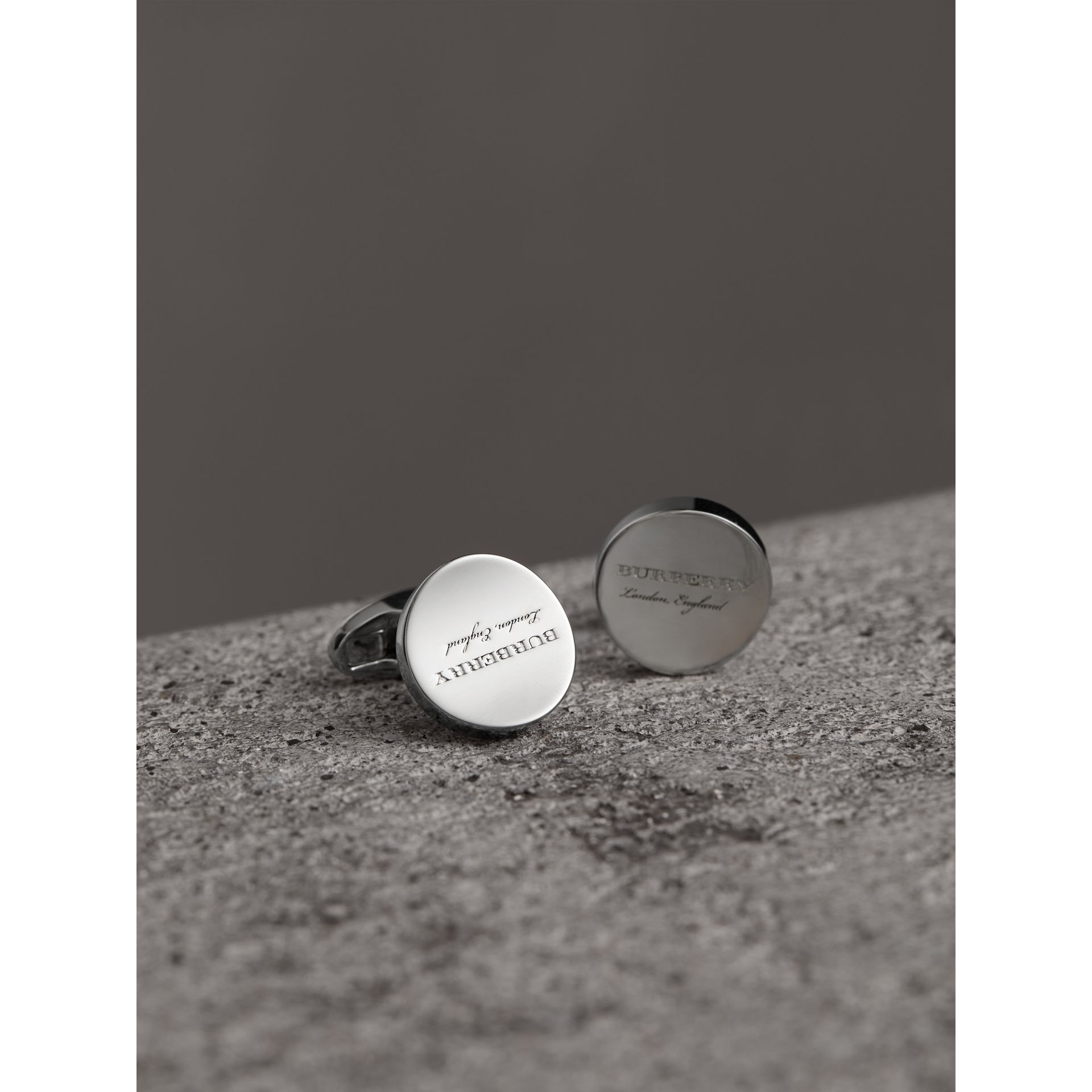 Engraved Motif Round Cufflinks in Silver - Men | Burberry - gallery image 1