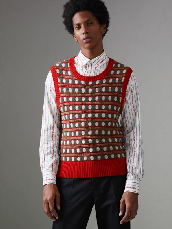 Pullunder aus Kaschmir im geometrischen Design (Leuchtendes Rot)