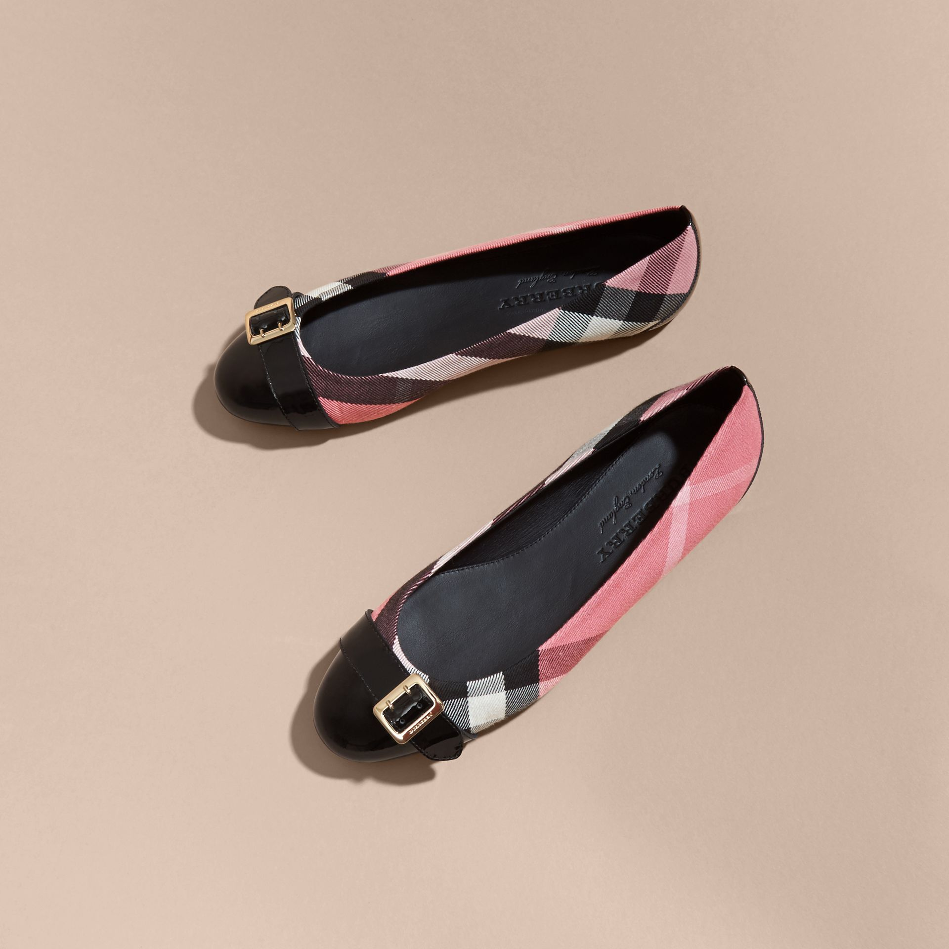 Buckle Detail House Check and Patent Leather Ballerinas Rose Pink - gallery image 3