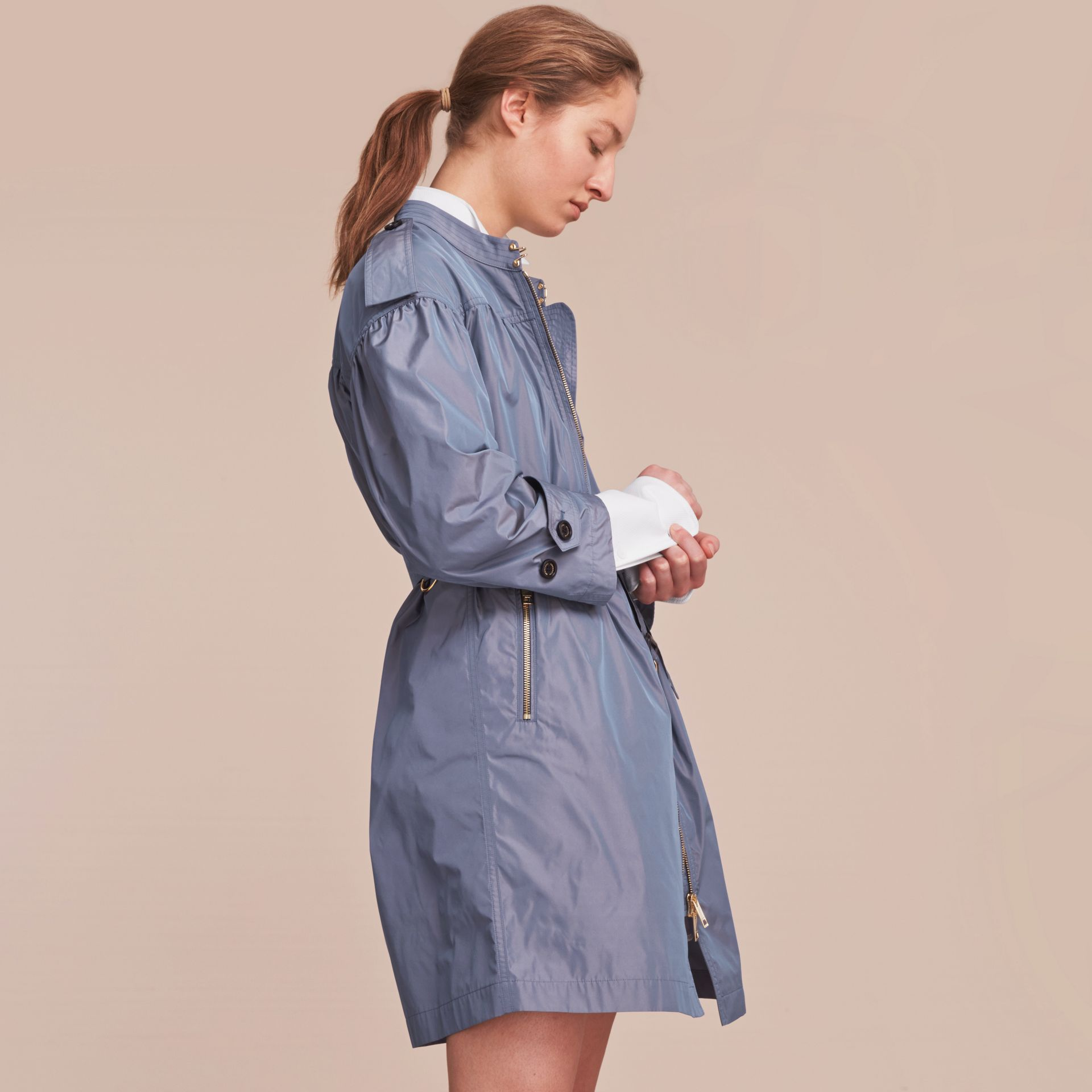Lightweight Ruched Coat in Stone Blue - gallery image 6