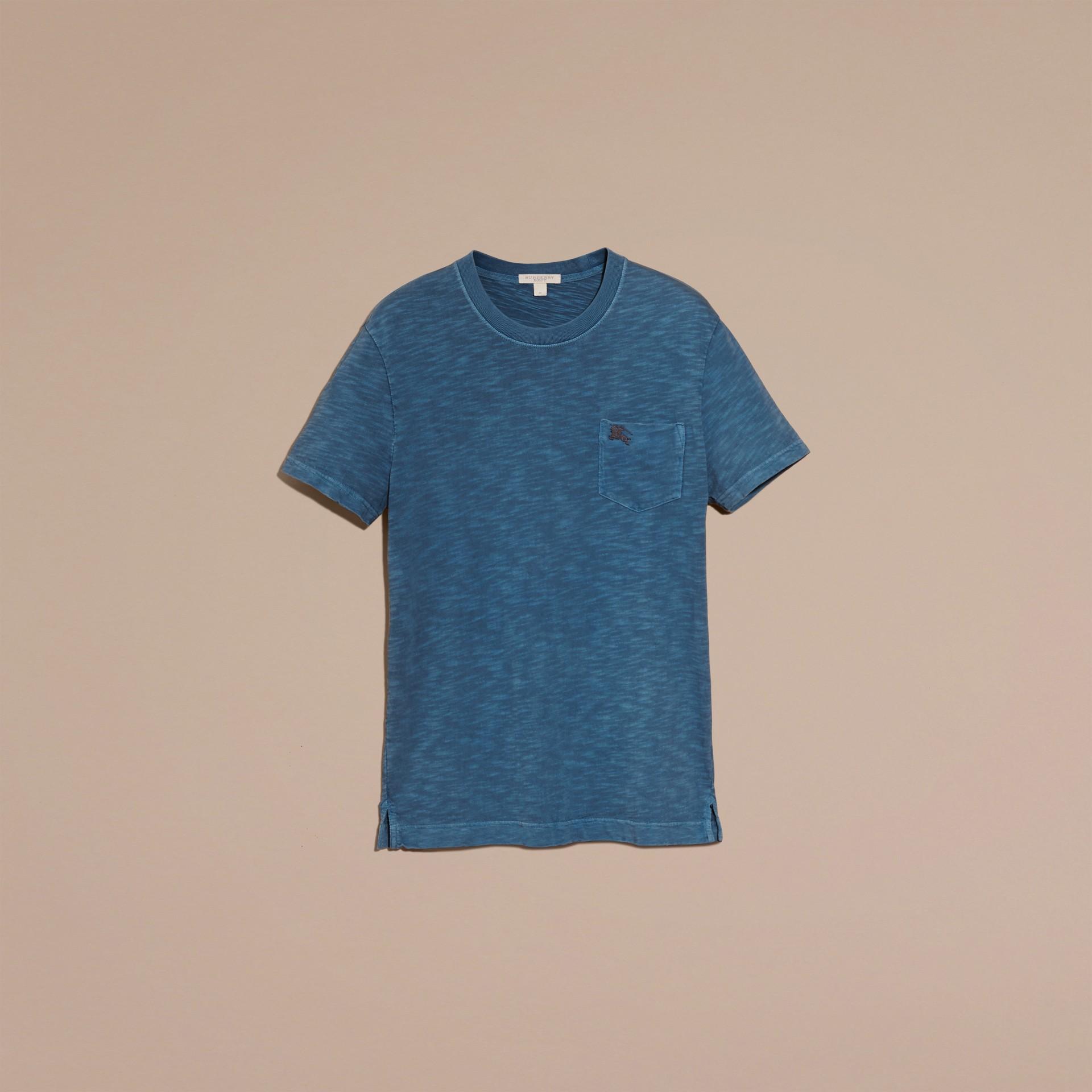 Bleu lupin T-shirt en jersey flammé double teinture Bleu Lupin - photo de la galerie 4