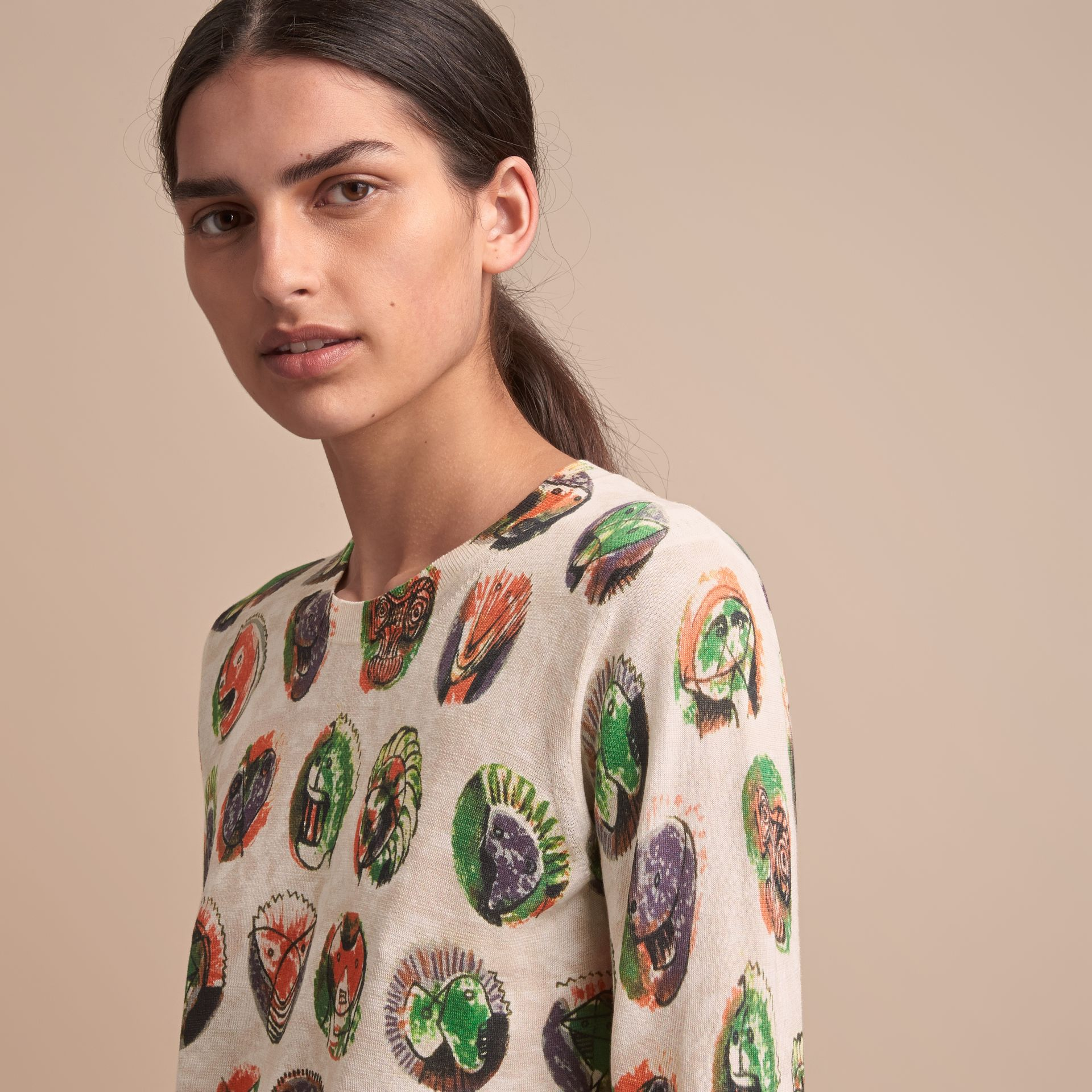 Pallas Heads Print Cotton Sweater in Natural White - Women | Burberry - gallery image 5