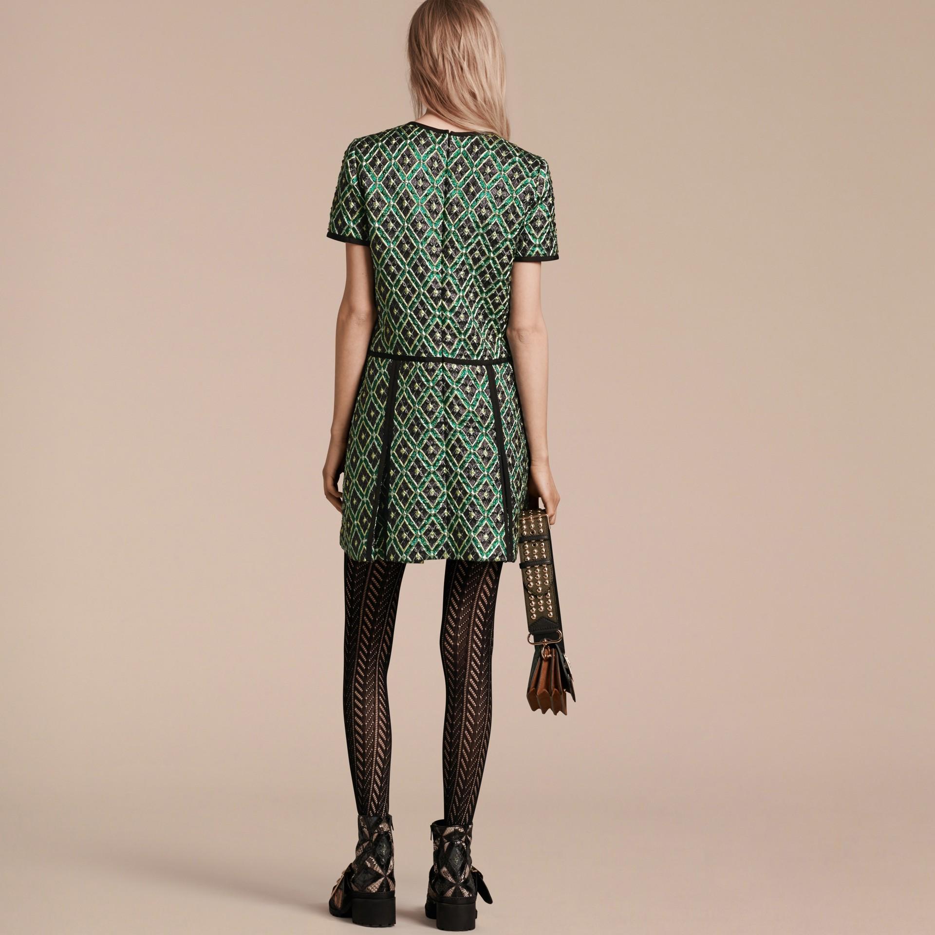 Deep green Patchwork Check Jacquard Dress - gallery image 3