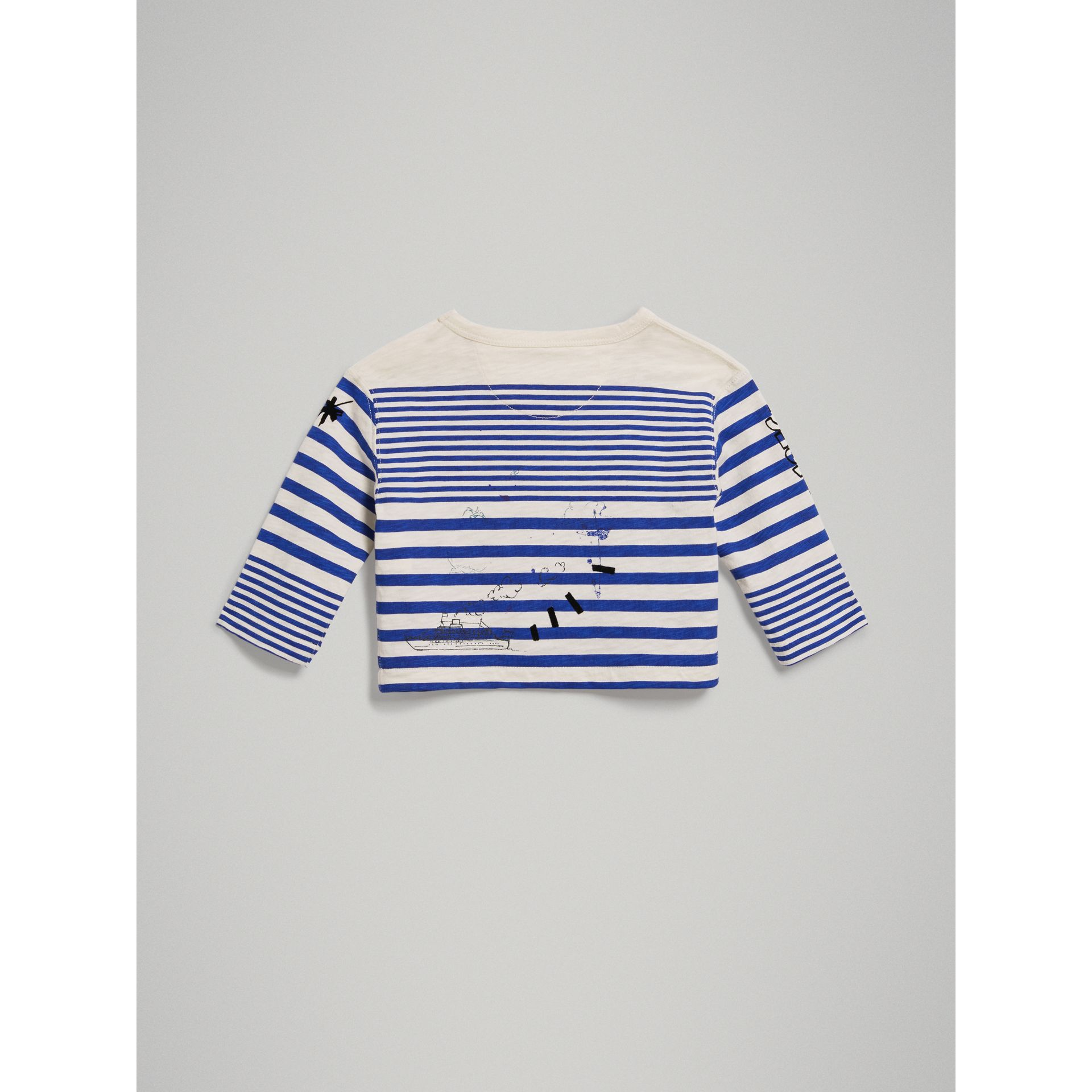 Long-sleeve SW1 Print Cotton Top in Bright Lapis/natural White - Children | Burberry - gallery image 3