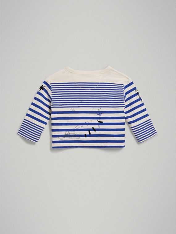 Long-sleeve SW1 Print Cotton Top in Bright Lapis/natural White | Burberry Australia - cell image 3